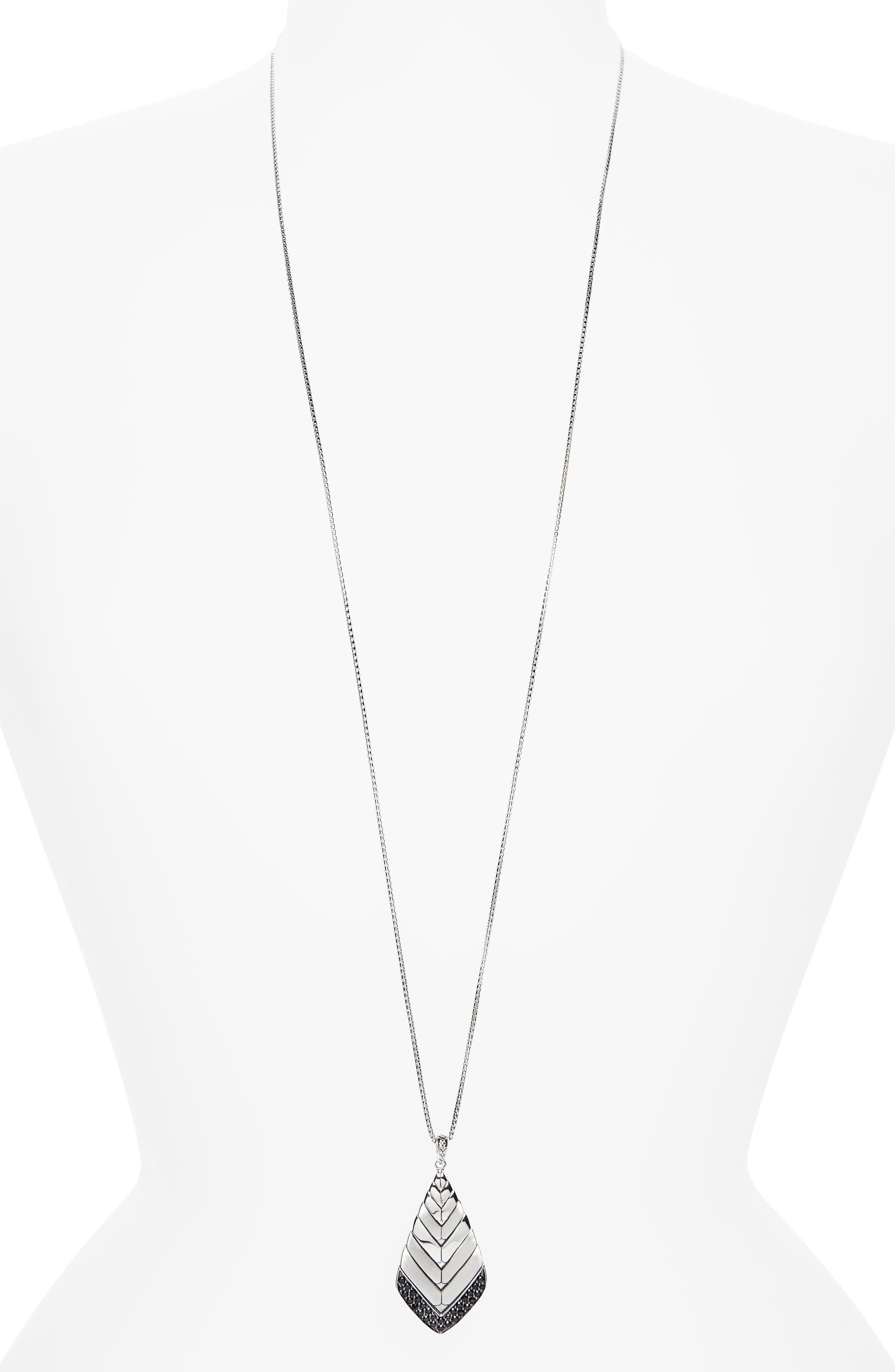 Modern Chain Pendant Necklace,                         Main,                         color, Silver/ Black Sapphire