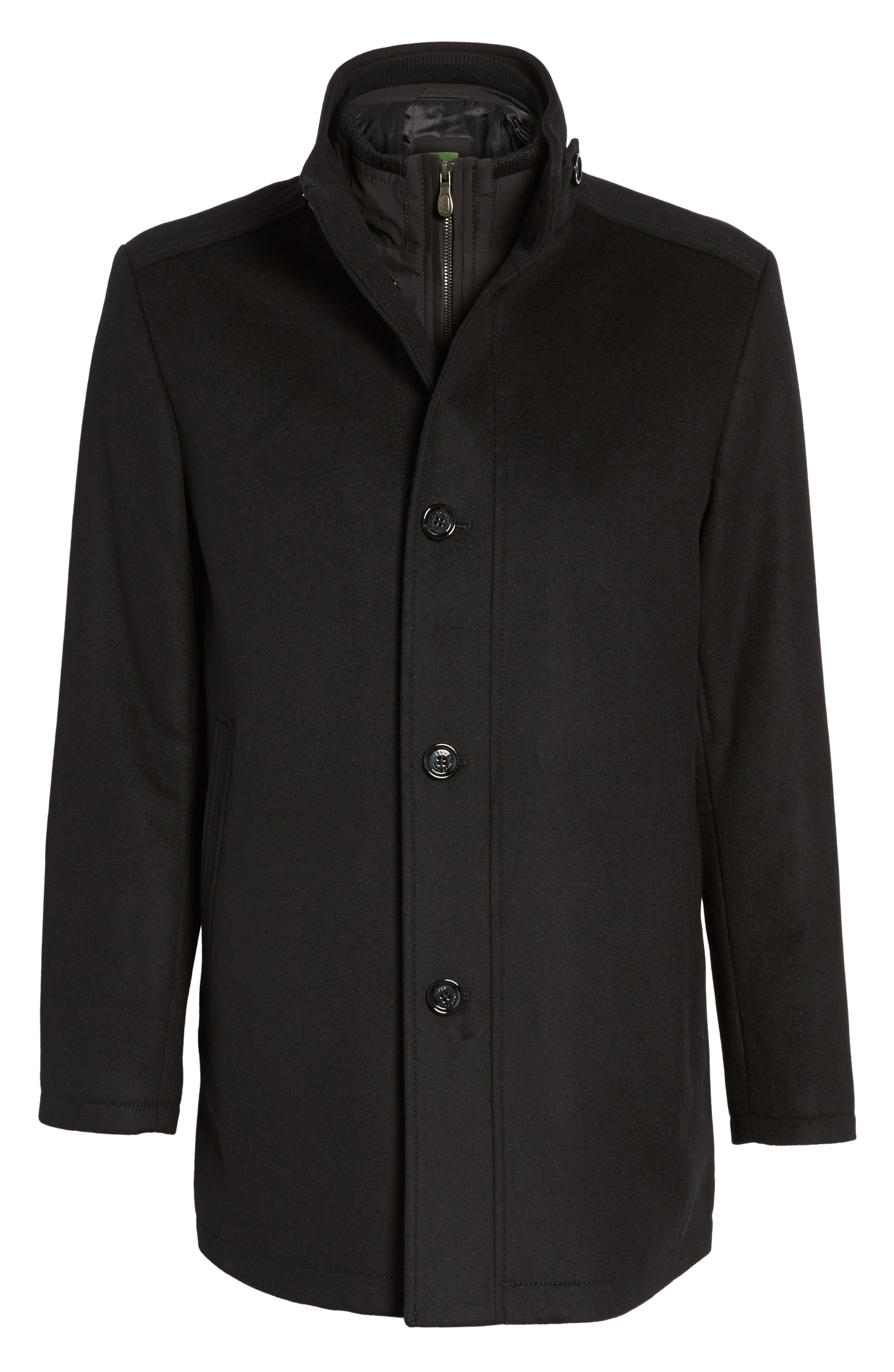 C-Coxtan Wool Blend Coat with Insert,                             Alternate thumbnail 5, color,                             Black