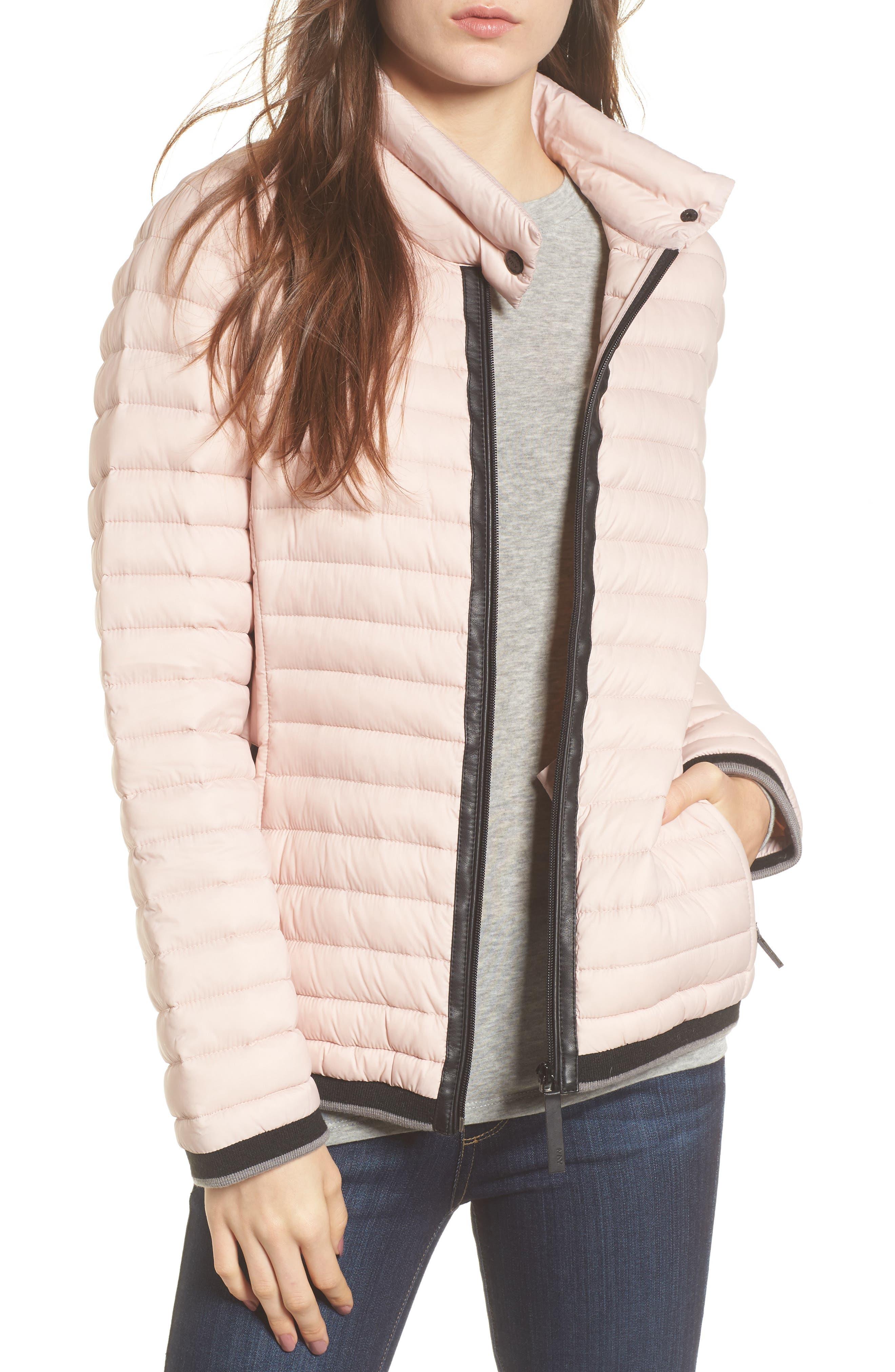 Stripe Trim Packable Down Jacket,                             Main thumbnail 1, color,                             Chablis