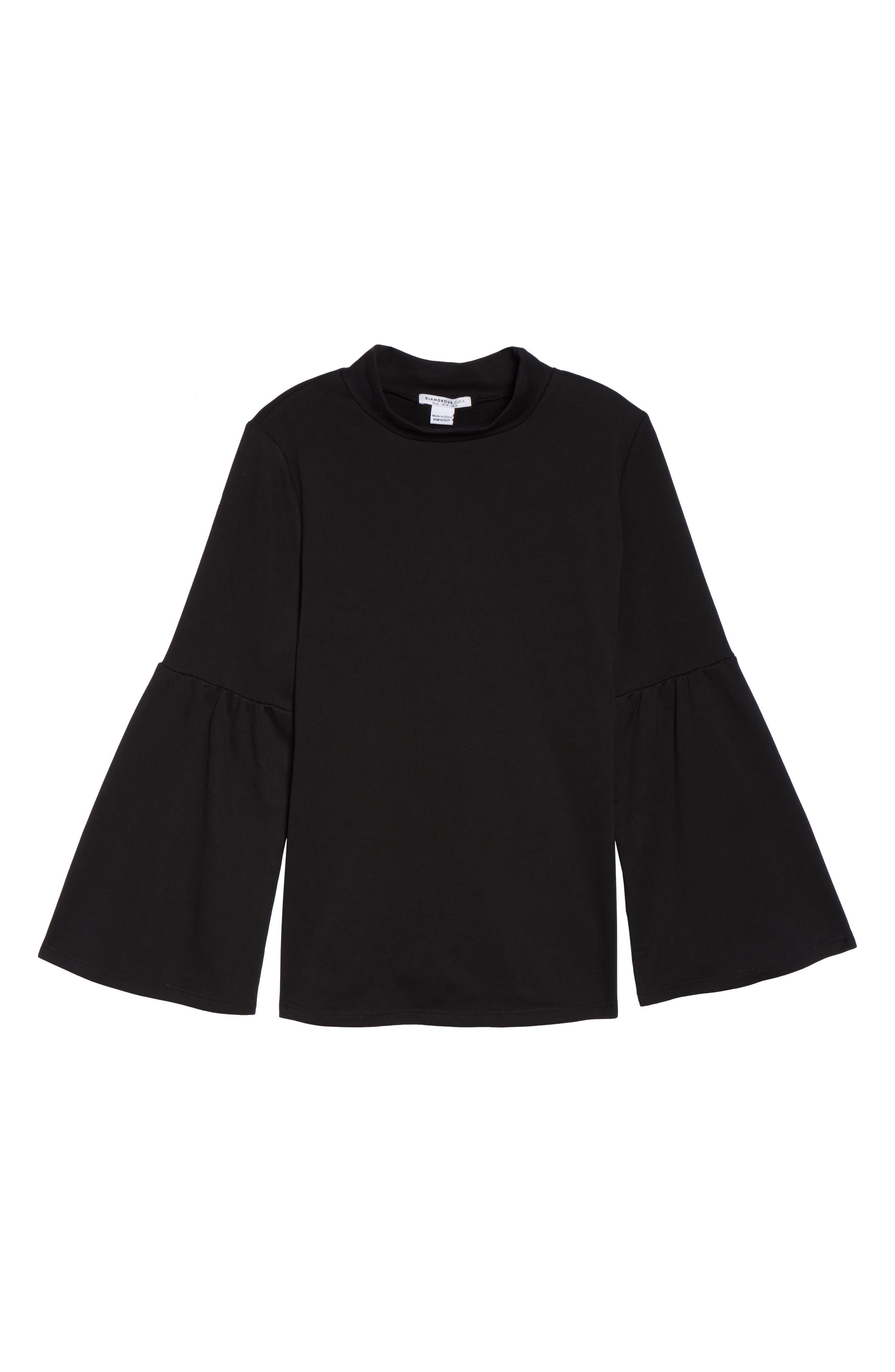 Mock Neck Bell Sleeve Tunic,                             Alternate thumbnail 6, color,                             Black
