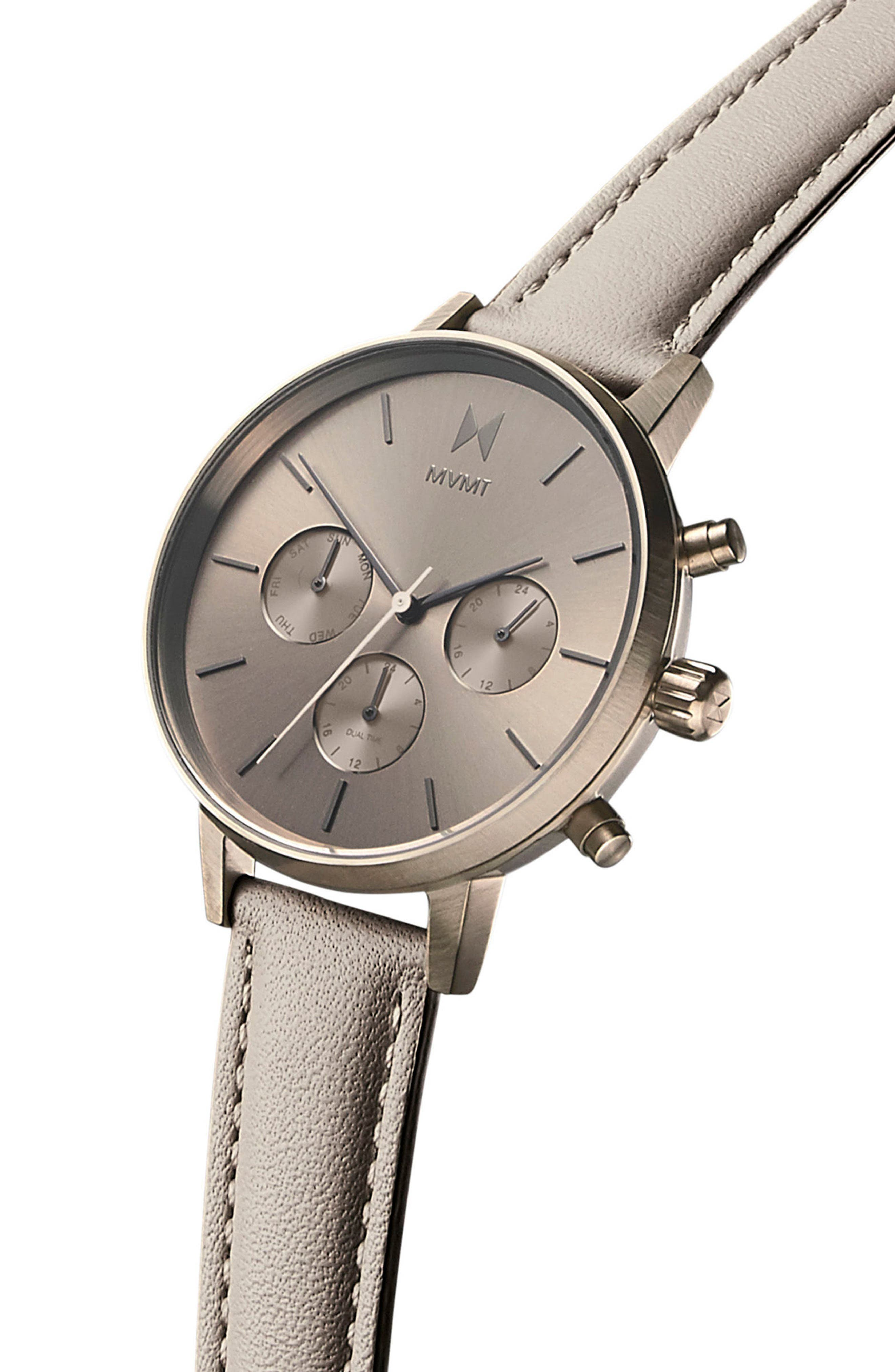 Nova Chronograph Leather Strap Watch, 38mm,                             Alternate thumbnail 3, color,                             Taupe