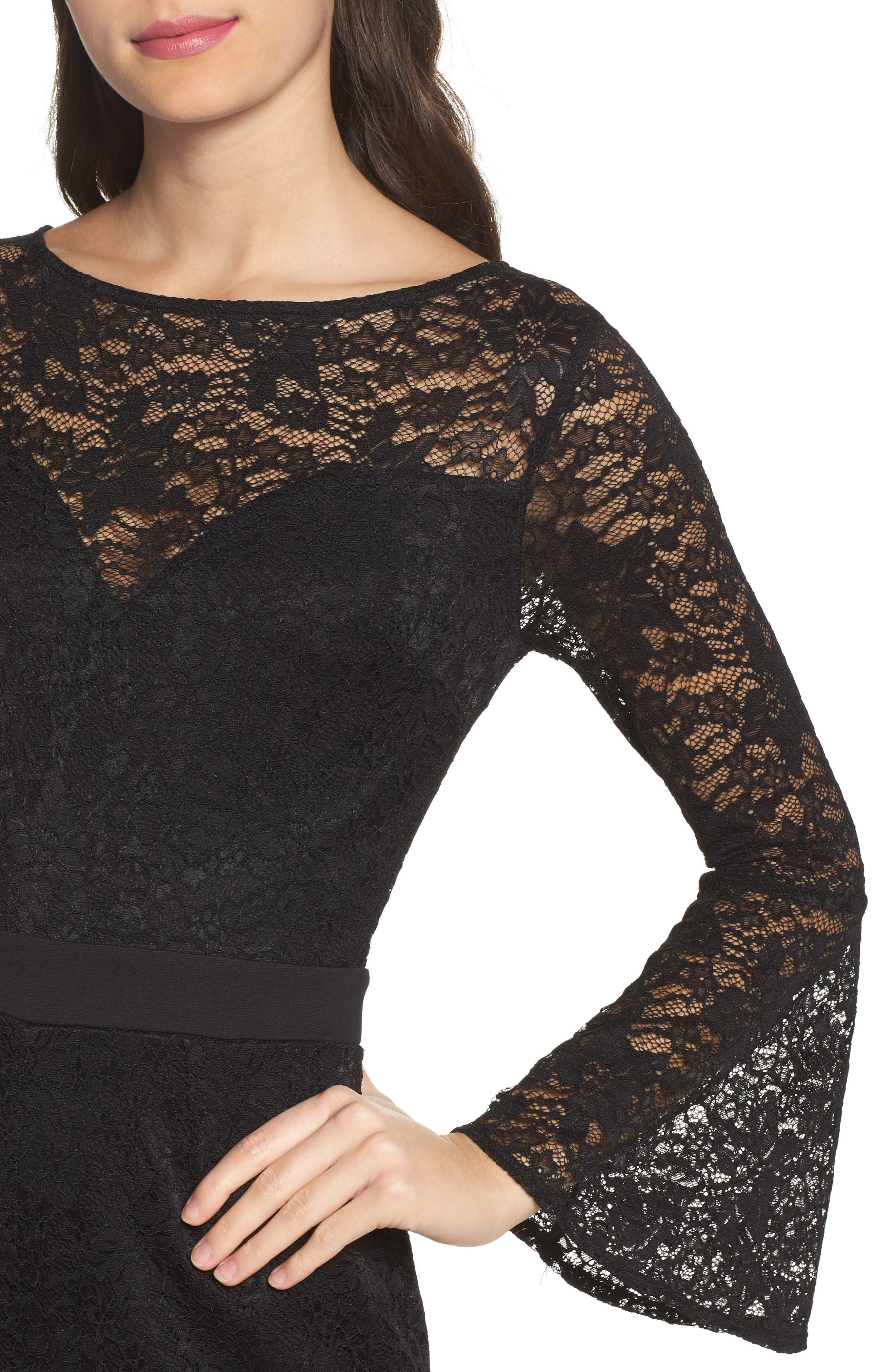 Bell Sleeve Lace Romper,                             Alternate thumbnail 4, color,                             Black