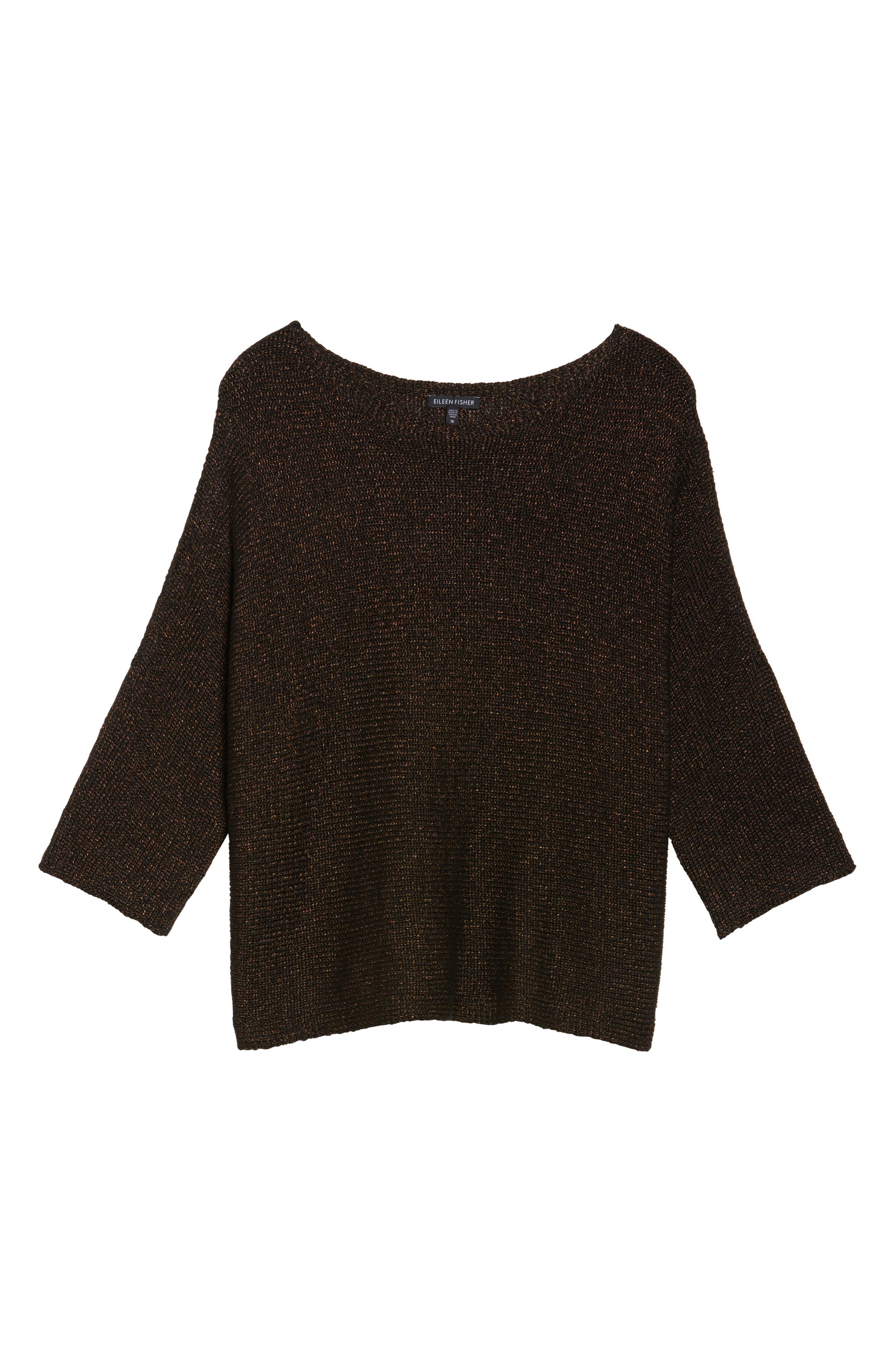 Metallic Organic Linen Blend Sweater,                             Alternate thumbnail 6, color,                             Bronze