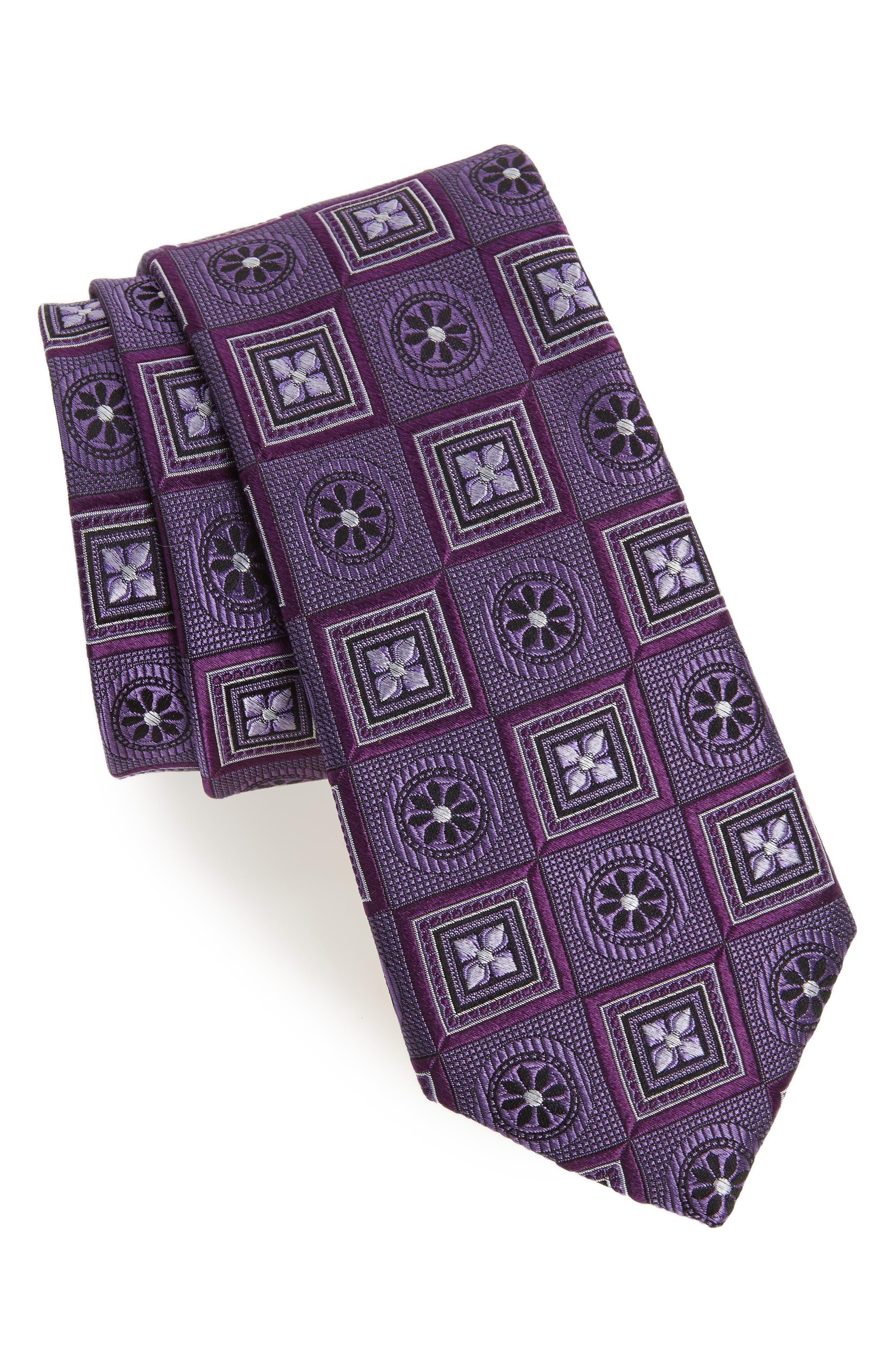 Medallion Squares Silk Tie,                             Main thumbnail 1, color,                             Purple