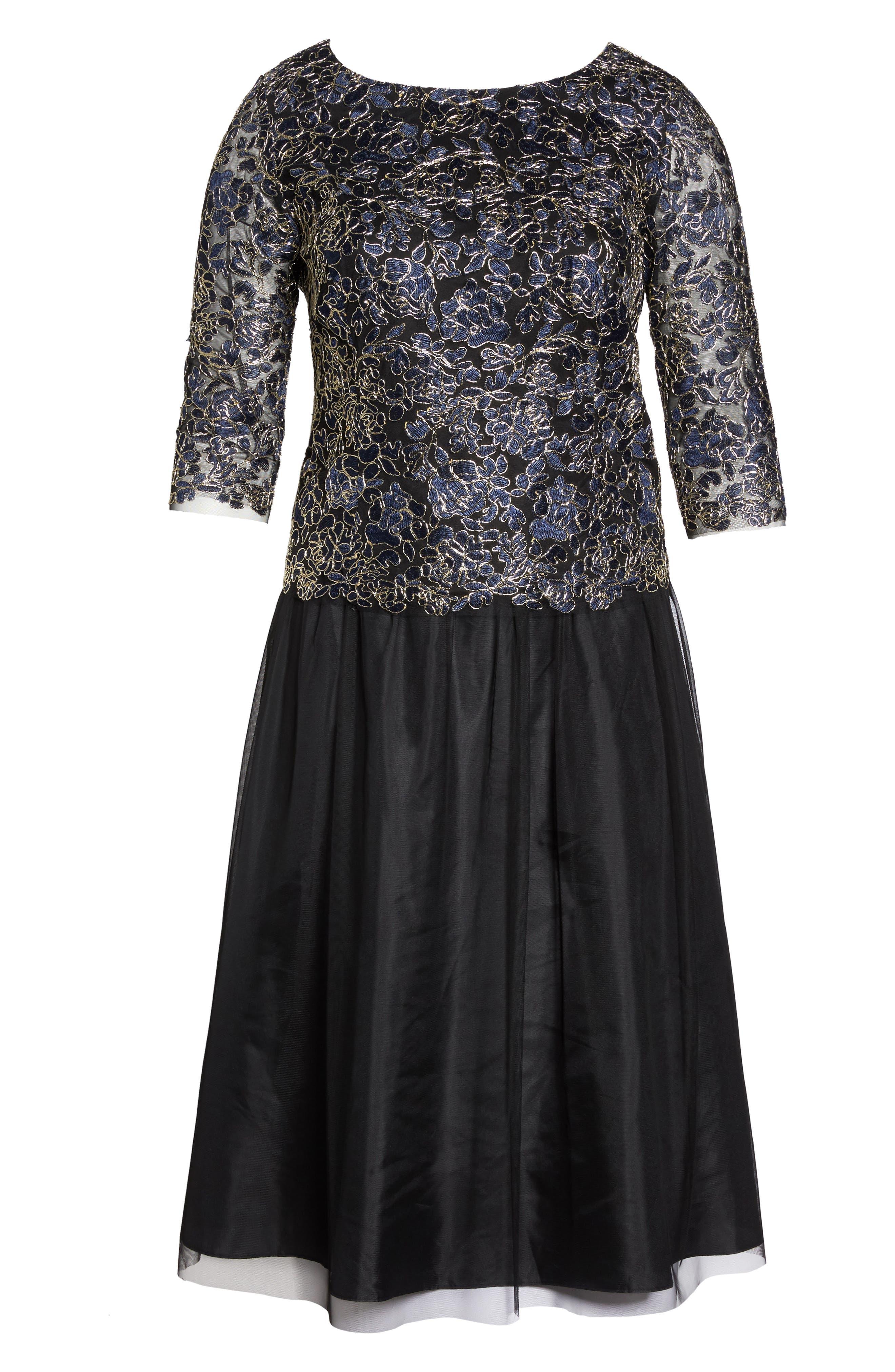 Alternate Image 6  - Alex Evenings Tea Length Lace & Tulle Dress (Plus Size)