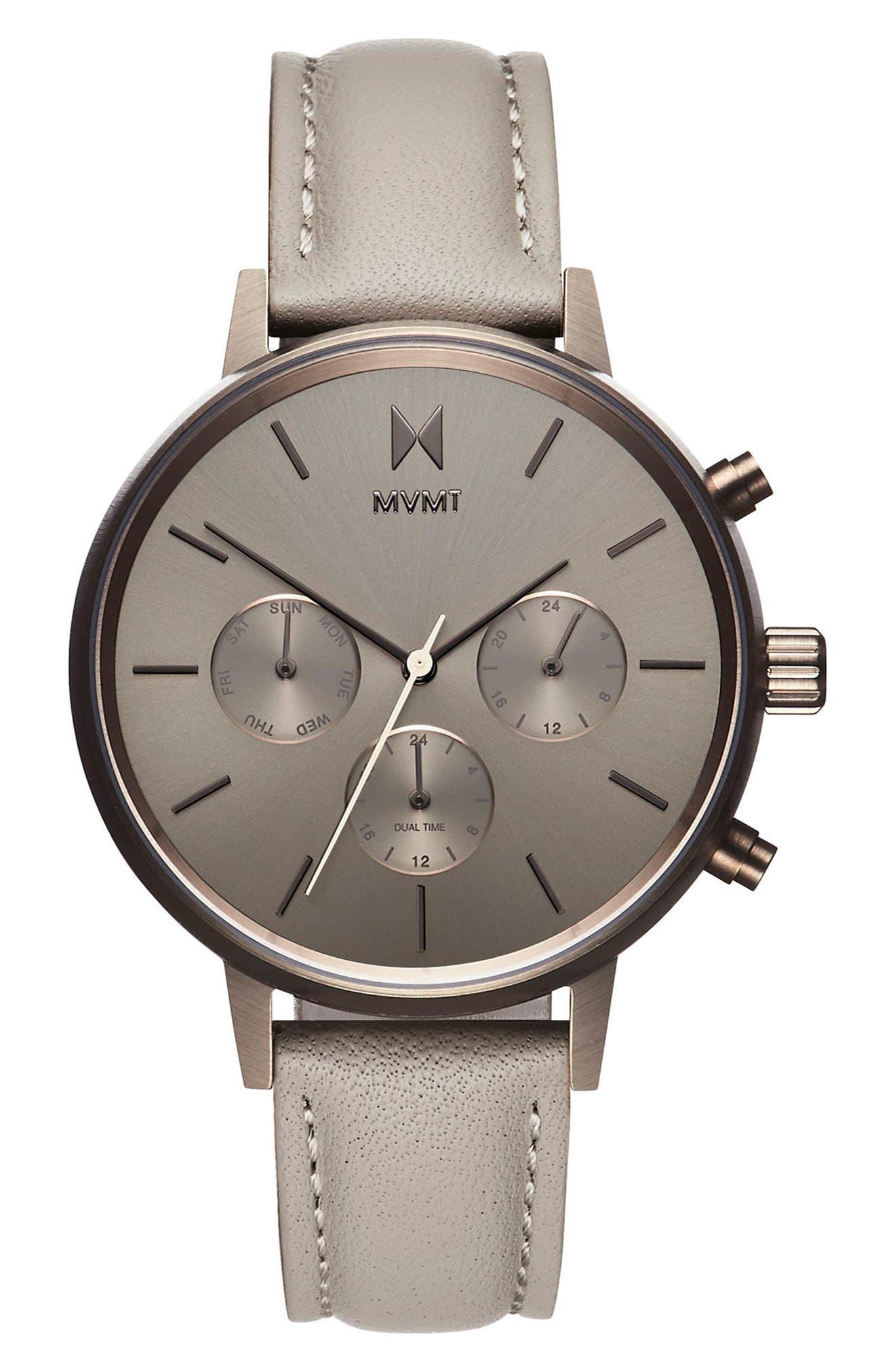 Main Image - MVMT Nova Chronograph Leather Strap Watch, 38mm