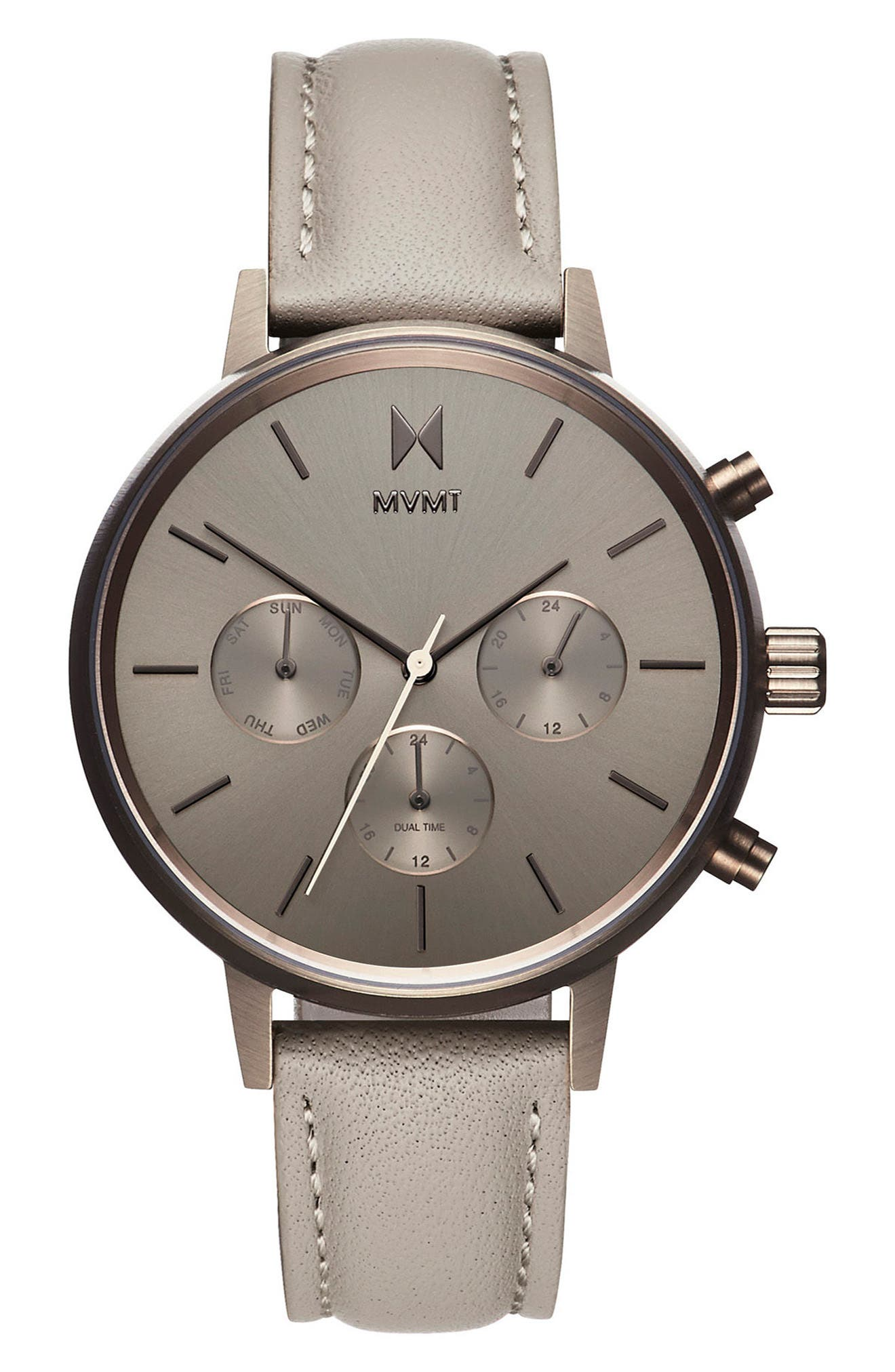 Nova Chronograph Leather Strap Watch, 38mm,                         Main,                         color, Taupe