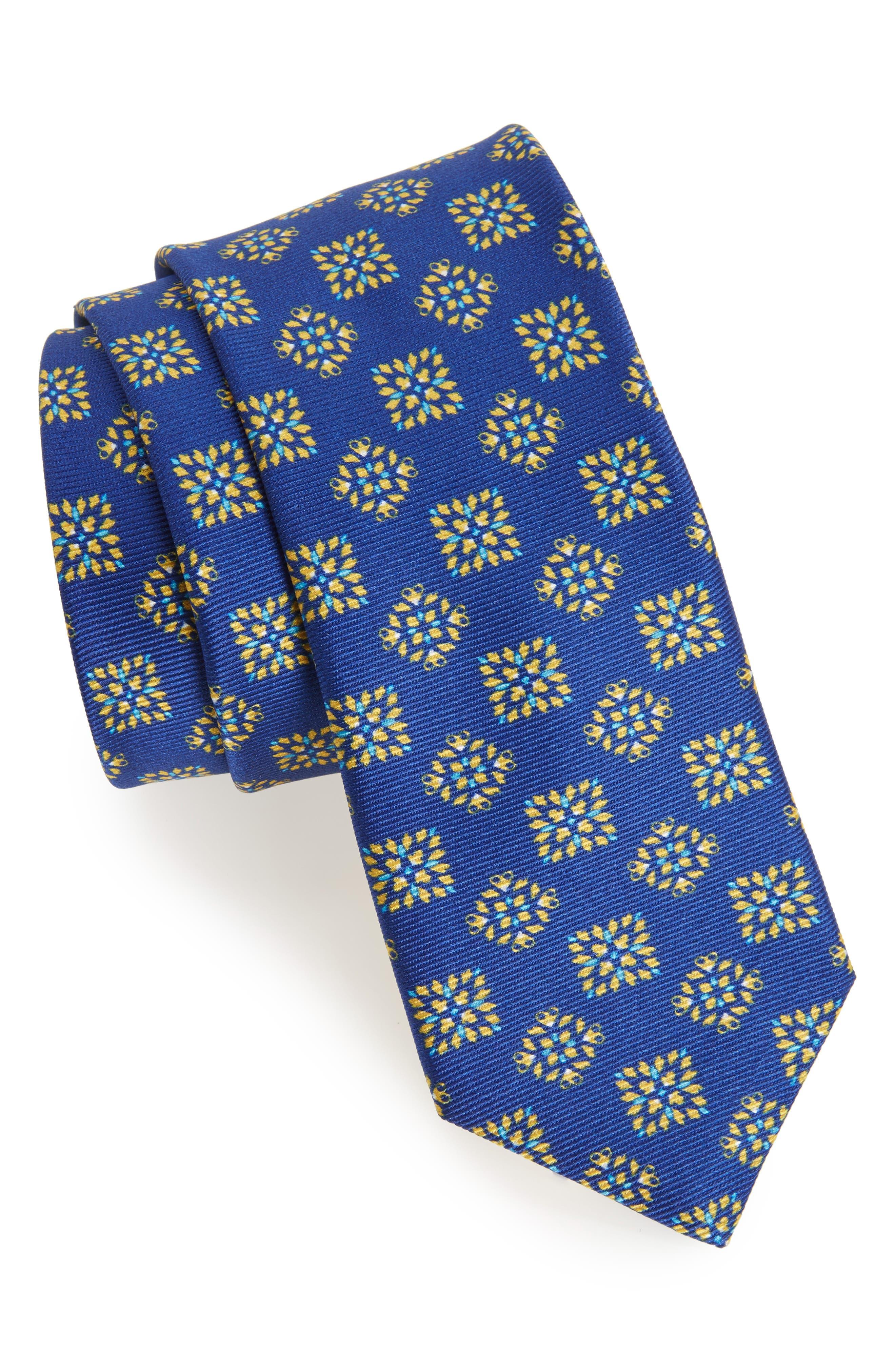 Medallion Silk Tie,                         Main,                         color, Blue