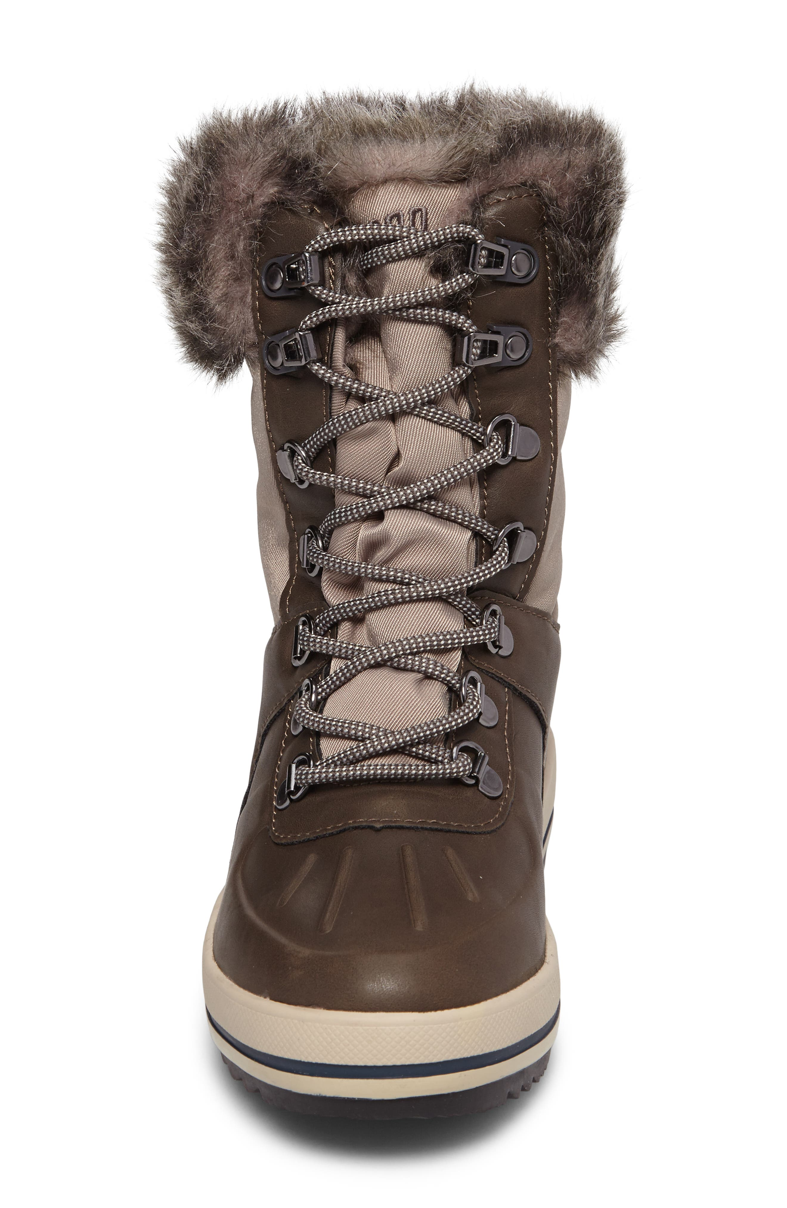 Viper Waterproof Snow Boot with Faux Fur Trim,                             Alternate thumbnail 4, color,                             Taupe/ Oatmeal