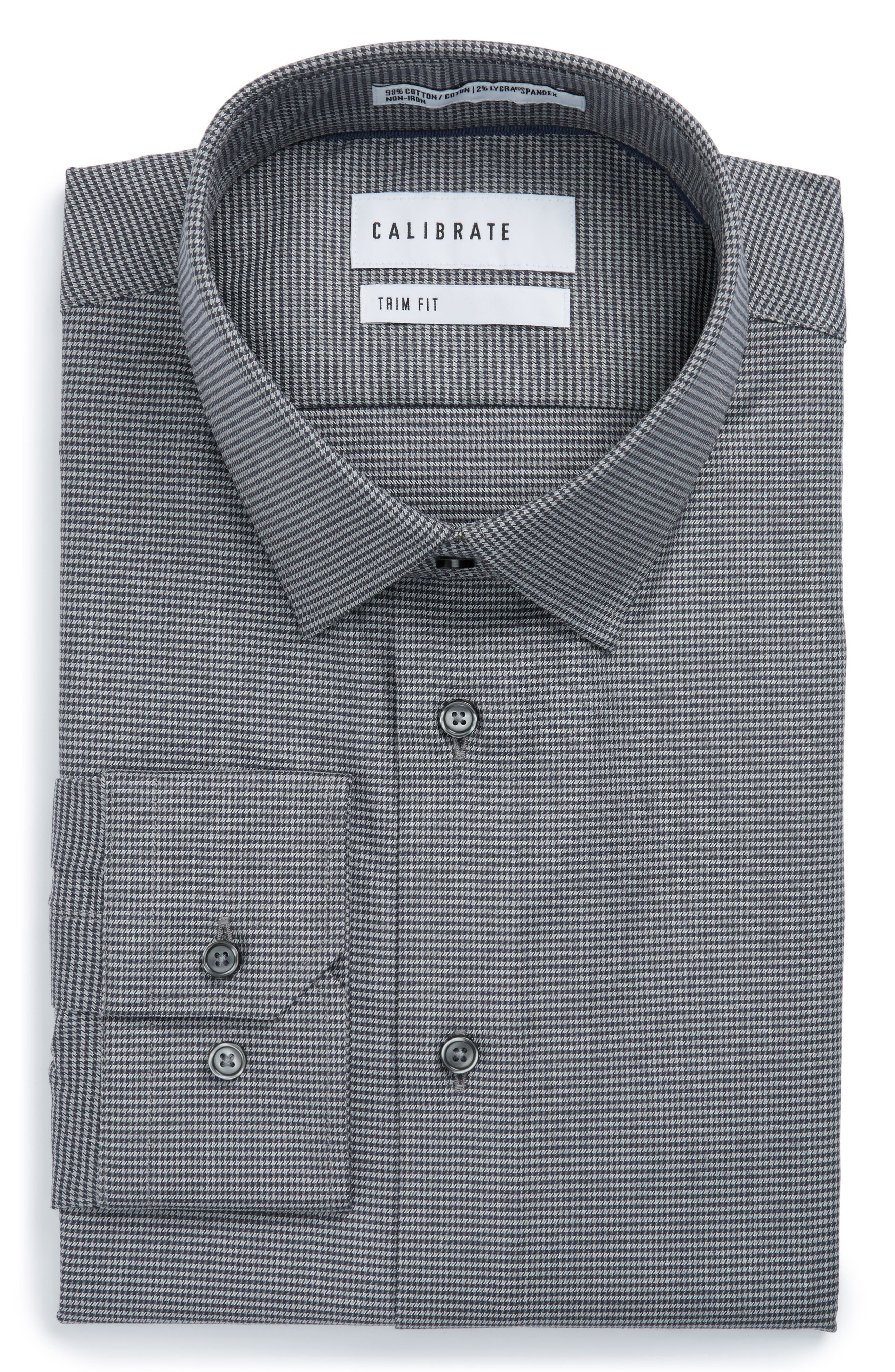 Trim Fit No-Iron Micro Houndstooth Stretch Dress Shirt,                             Main thumbnail 1, color,                             Grey Onyx