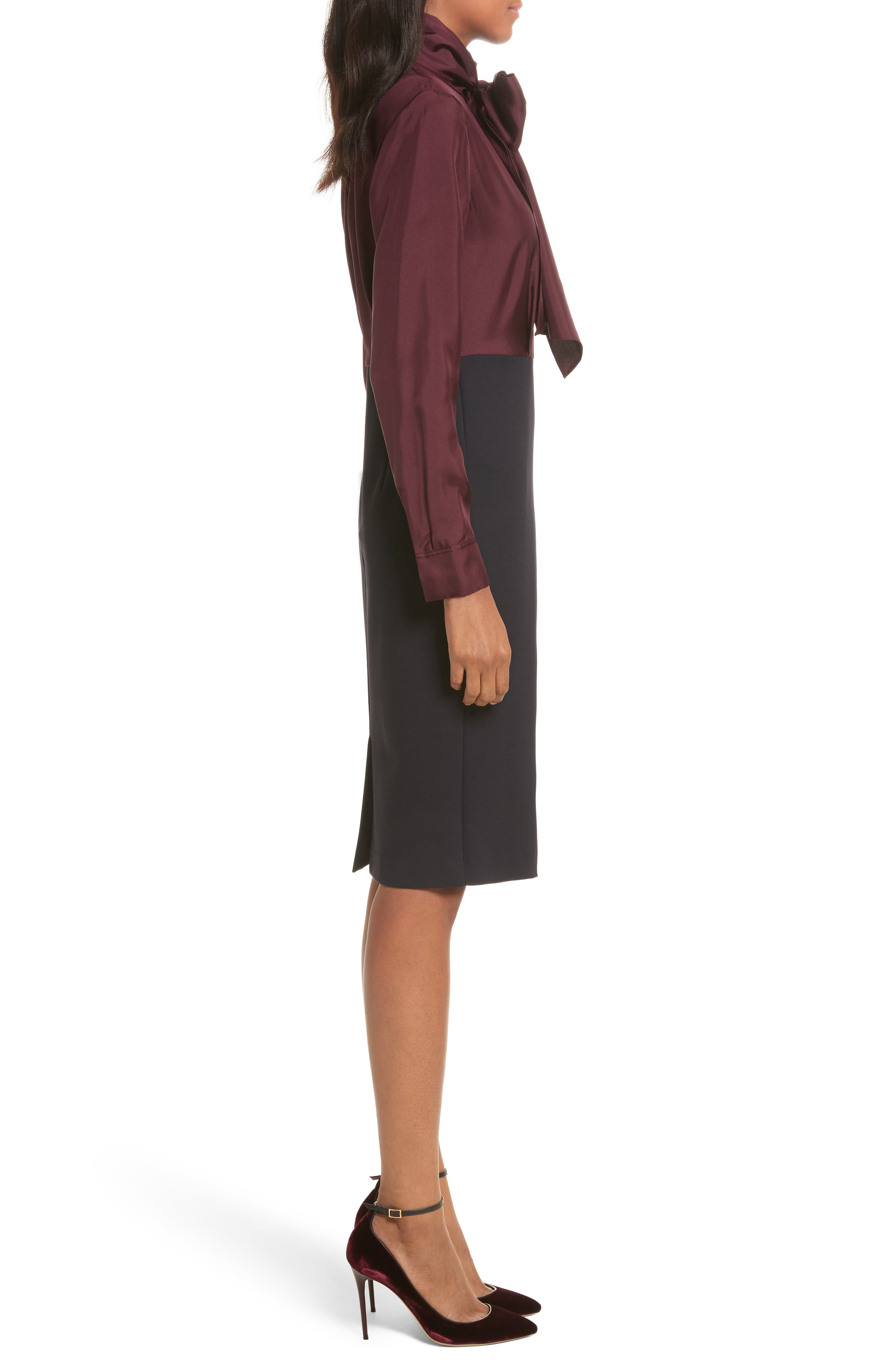 Jensah Tie Neck Mixed Media Dress,                             Alternate thumbnail 3, color,                             Dark Blue