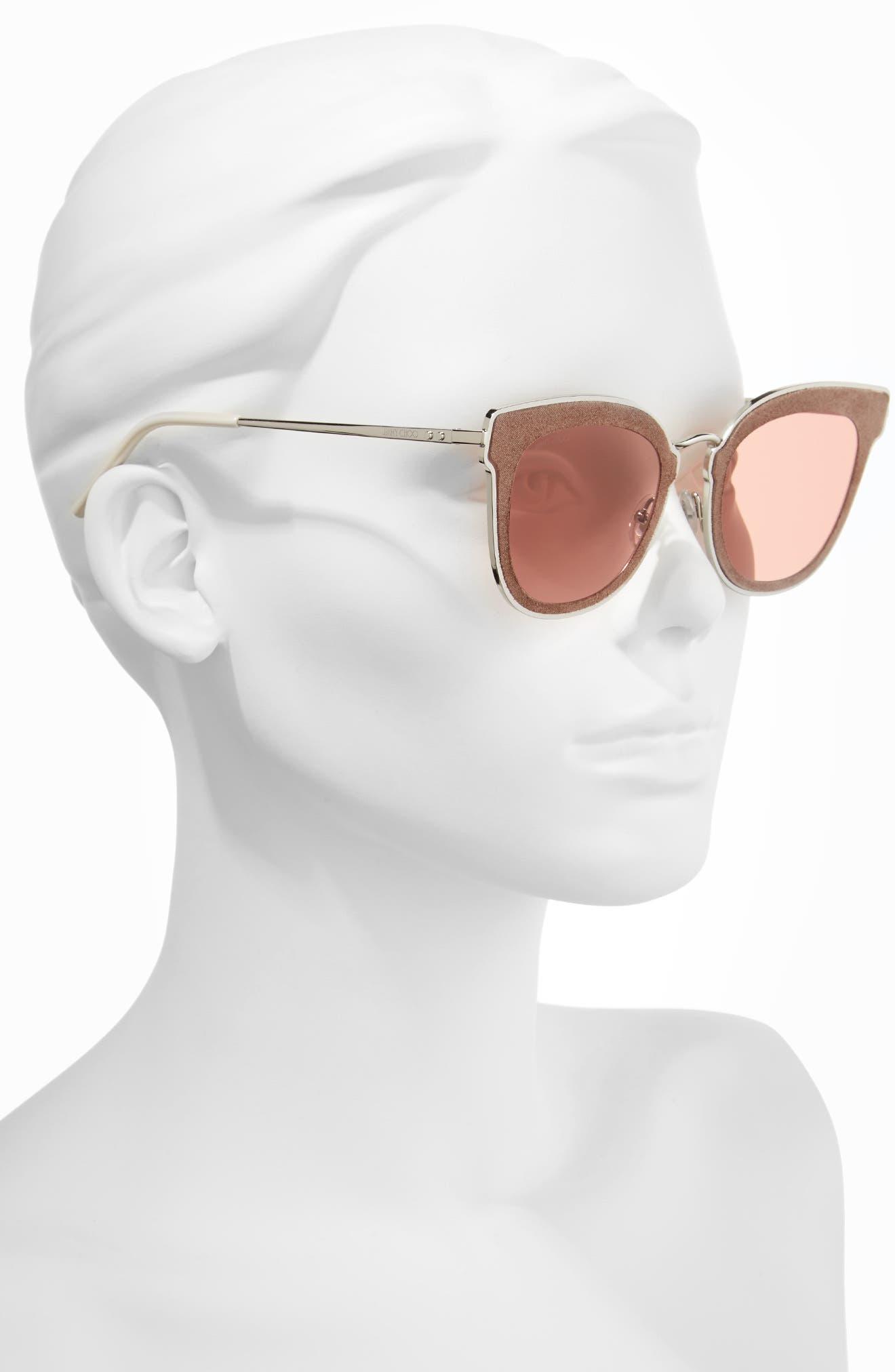 Niles 63mm Oversize Cat Eye Sunglasses,                             Alternate thumbnail 2, color,                             Silver Beige