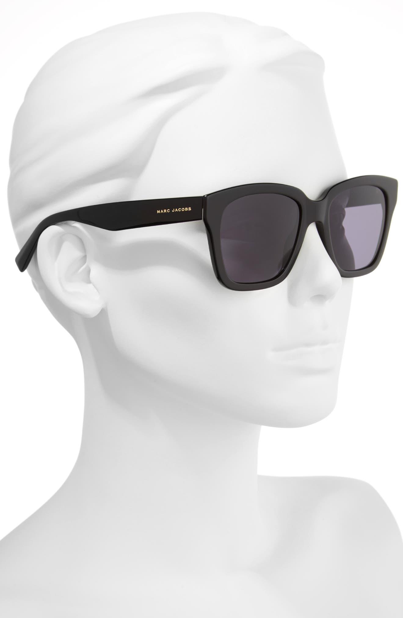 52mm Square Sunglasses,                             Alternate thumbnail 2, color,                             Black Glitter/ Gray Blue