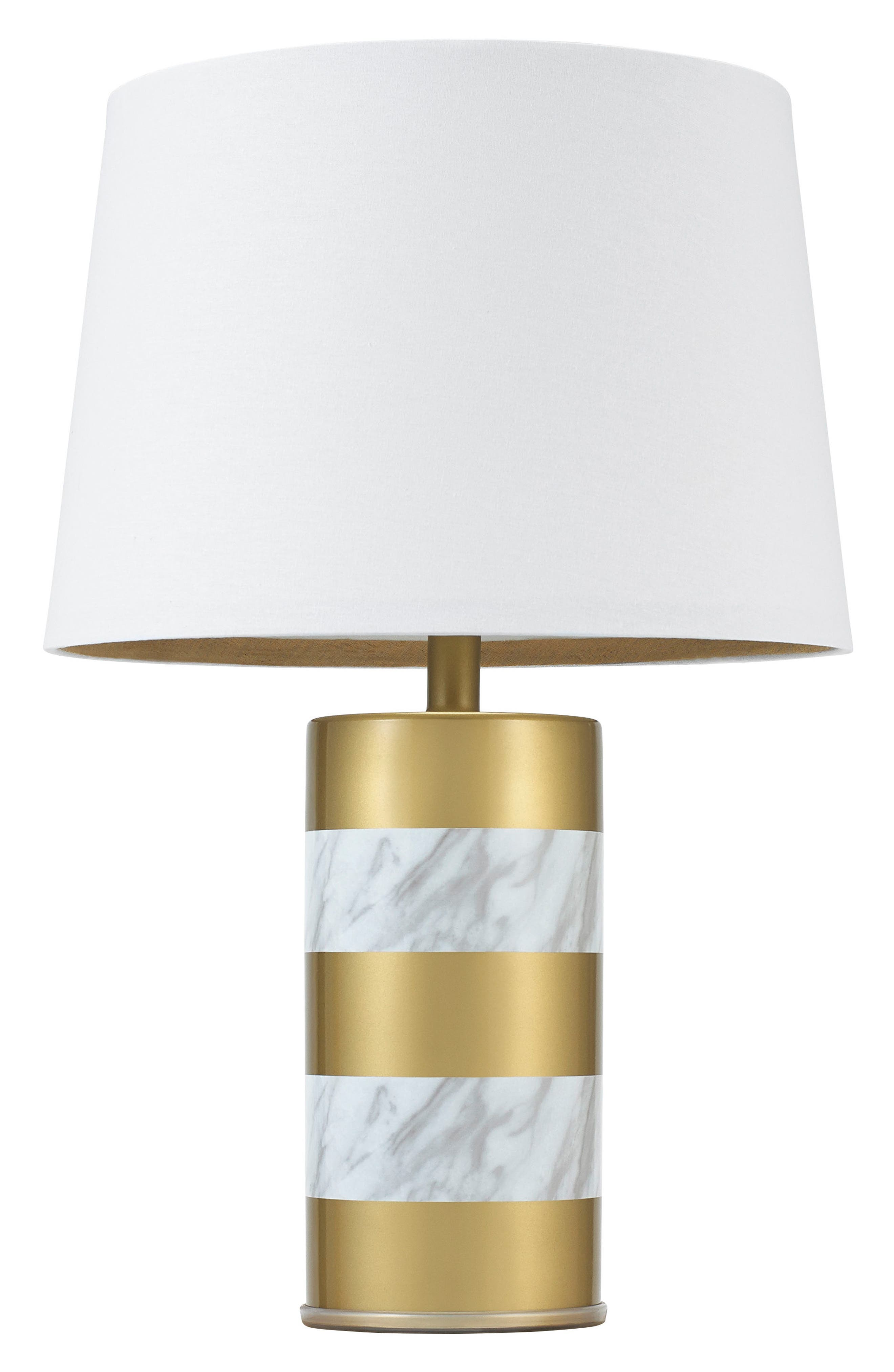 Goldtone & Marble Finish Table Lamp,                         Main,                         color, Gold