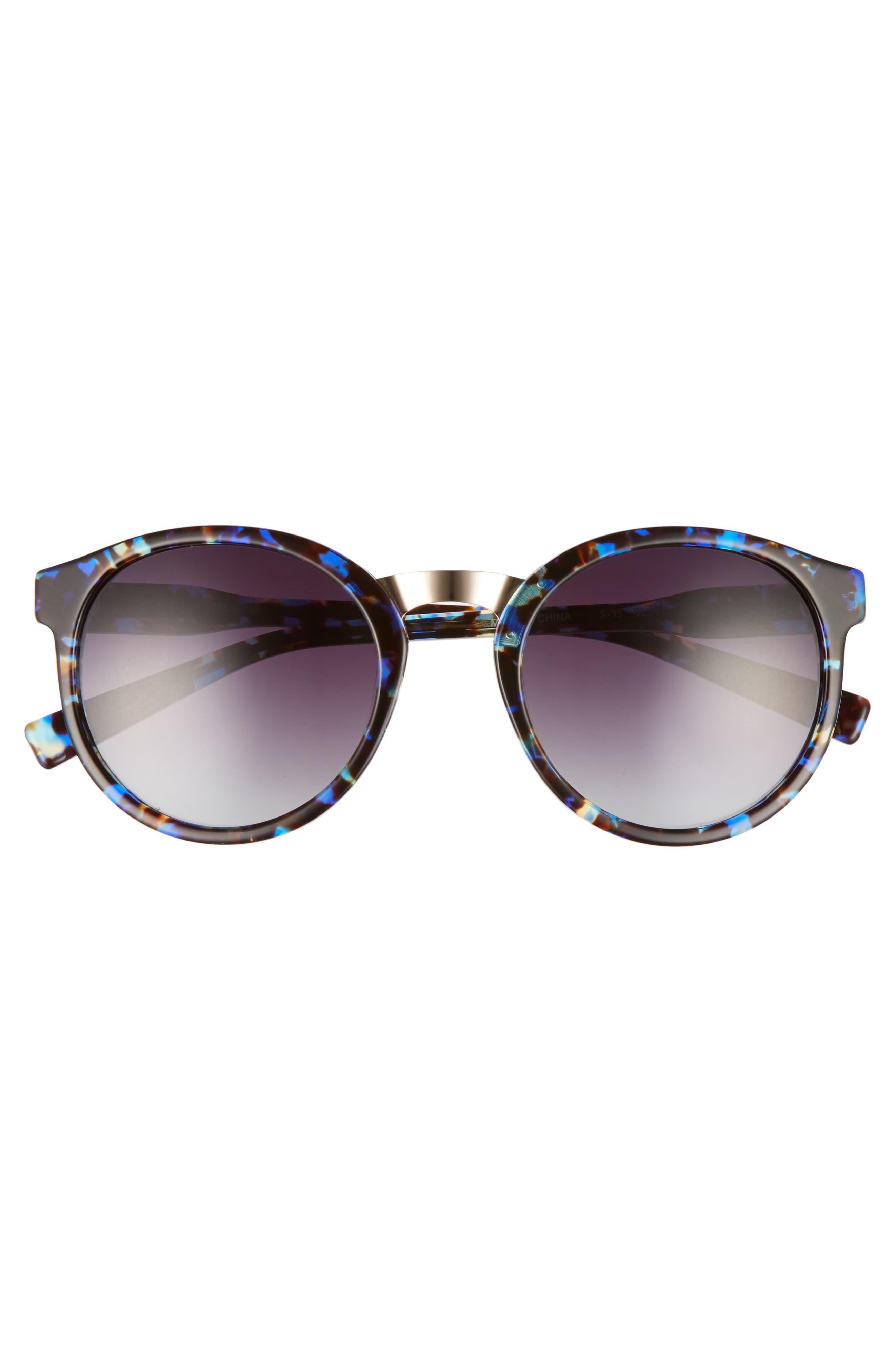 53mm Round Sunglasses,                             Alternate thumbnail 3, color,                             Blue Tortoise