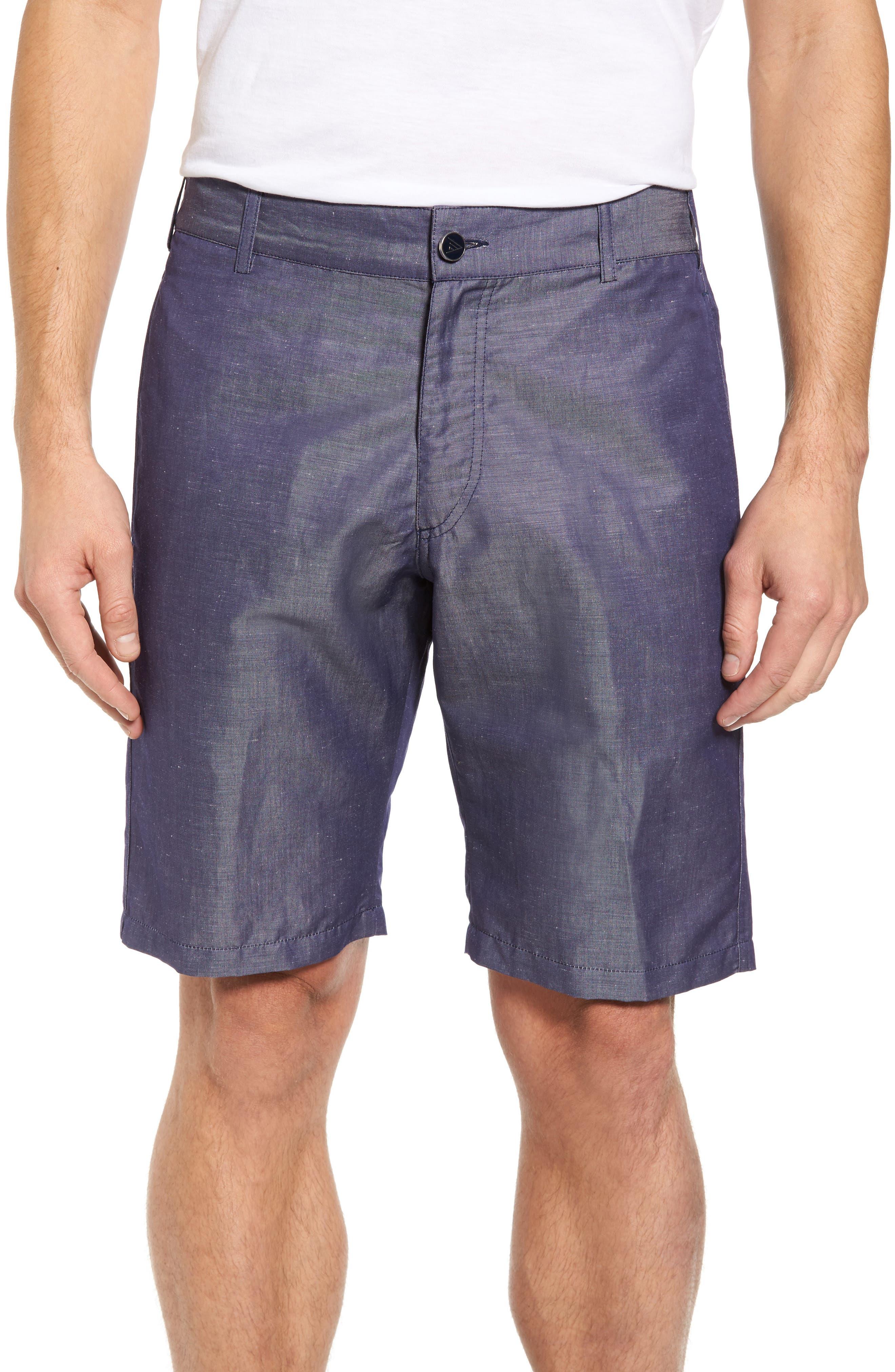 Linen Blend Bermuda Shorts,                         Main,                         color, Blue Jean