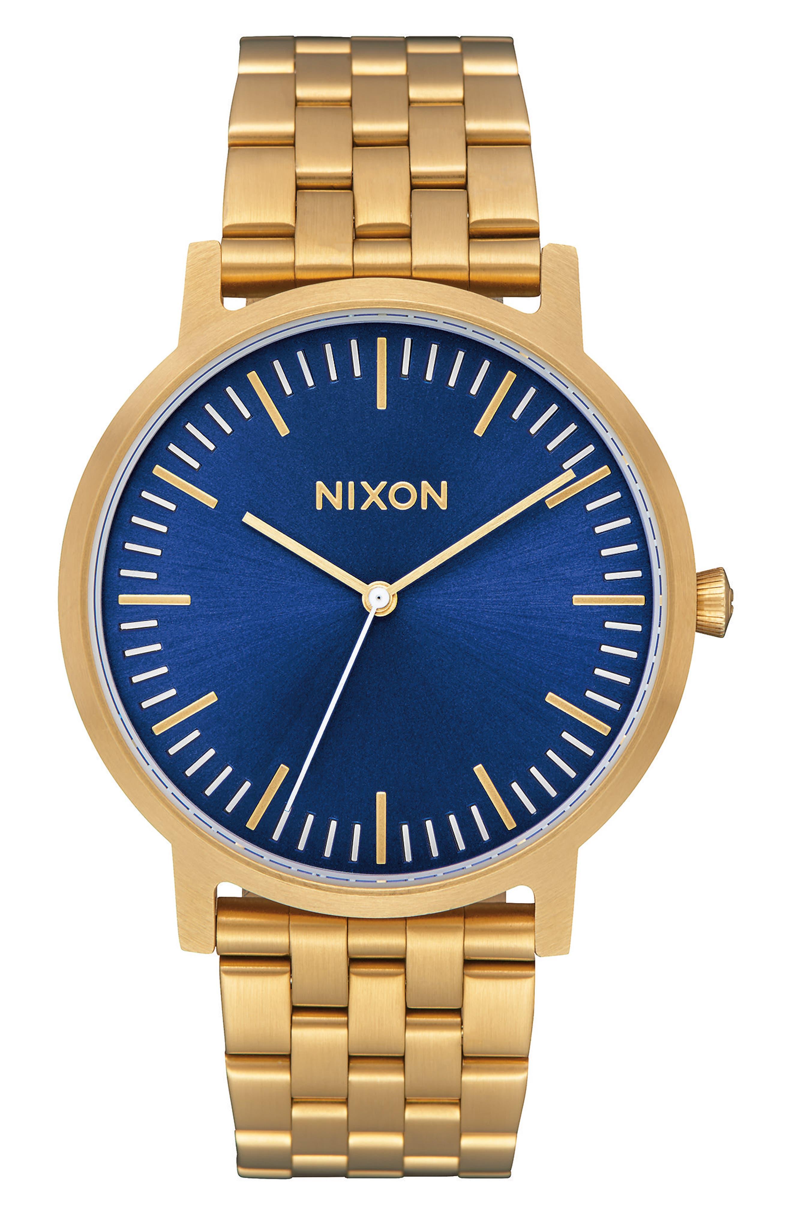 Porter Bracelet Watch, 40mm,                         Main,                         color, All Gold/ Blue Sunray