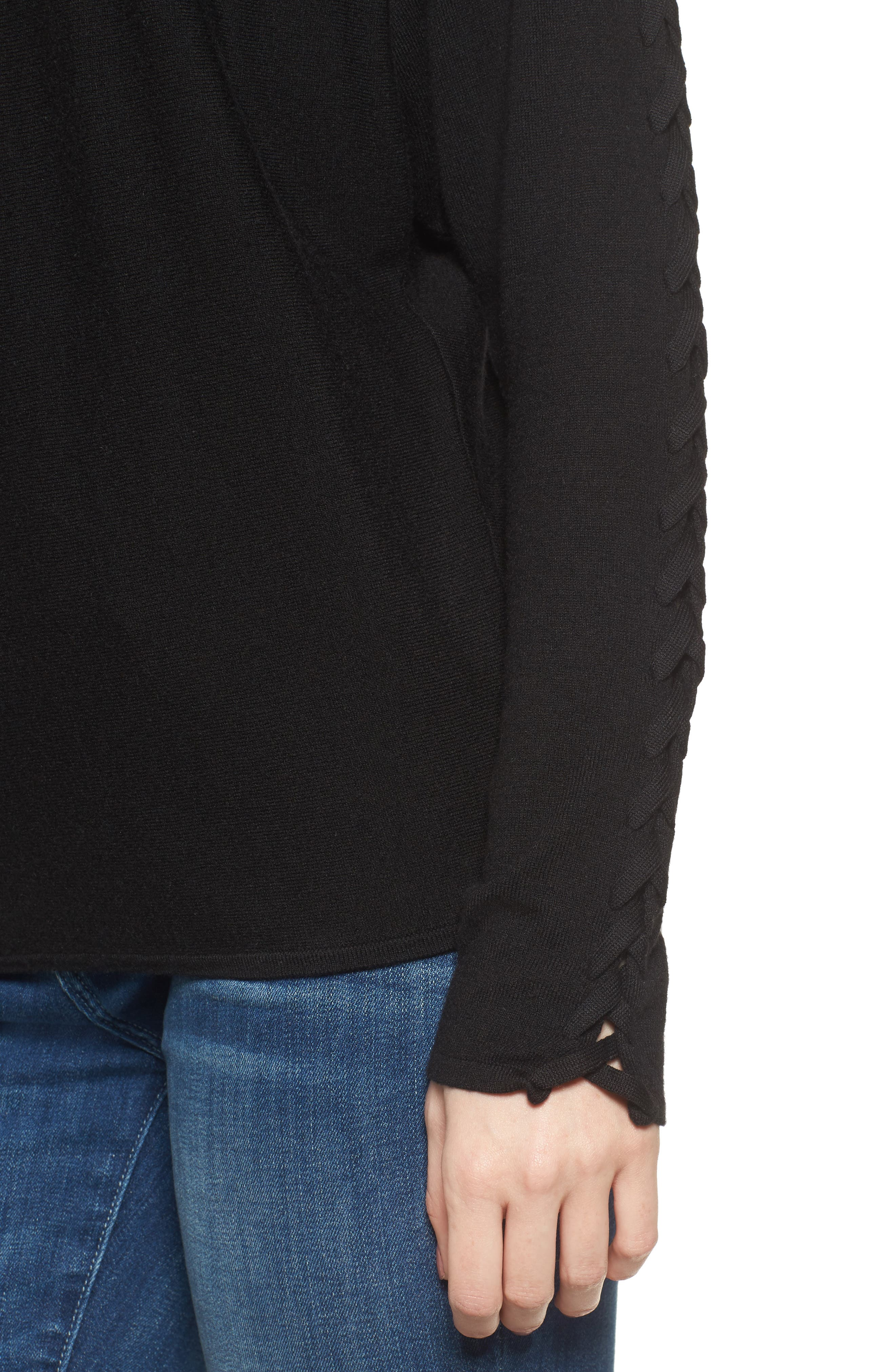 Victoire Turtleneck Sweater,                             Alternate thumbnail 4, color,                             Black