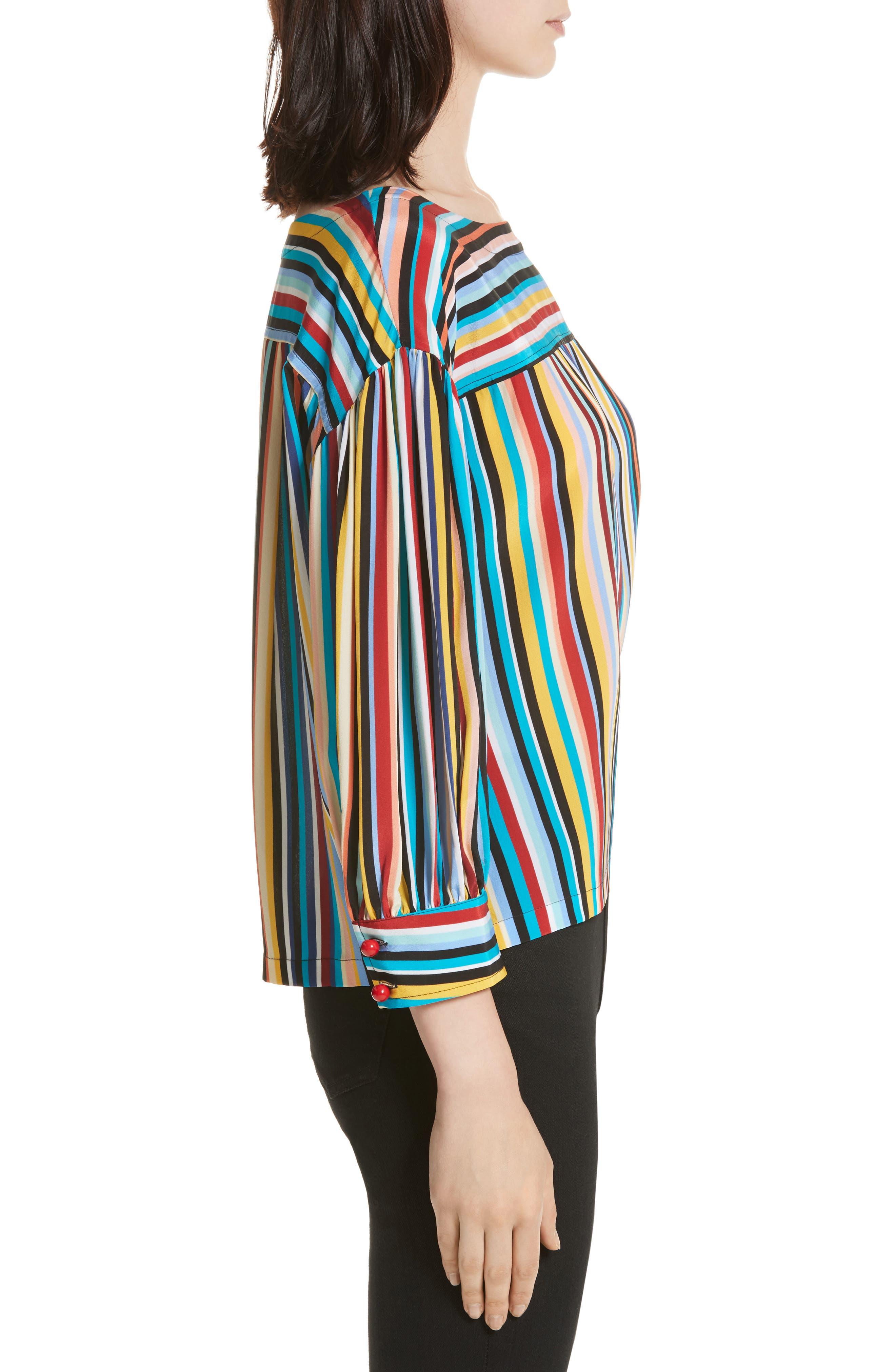Stripe Silk Top,                             Alternate thumbnail 3, color,                             Skinny Stripes