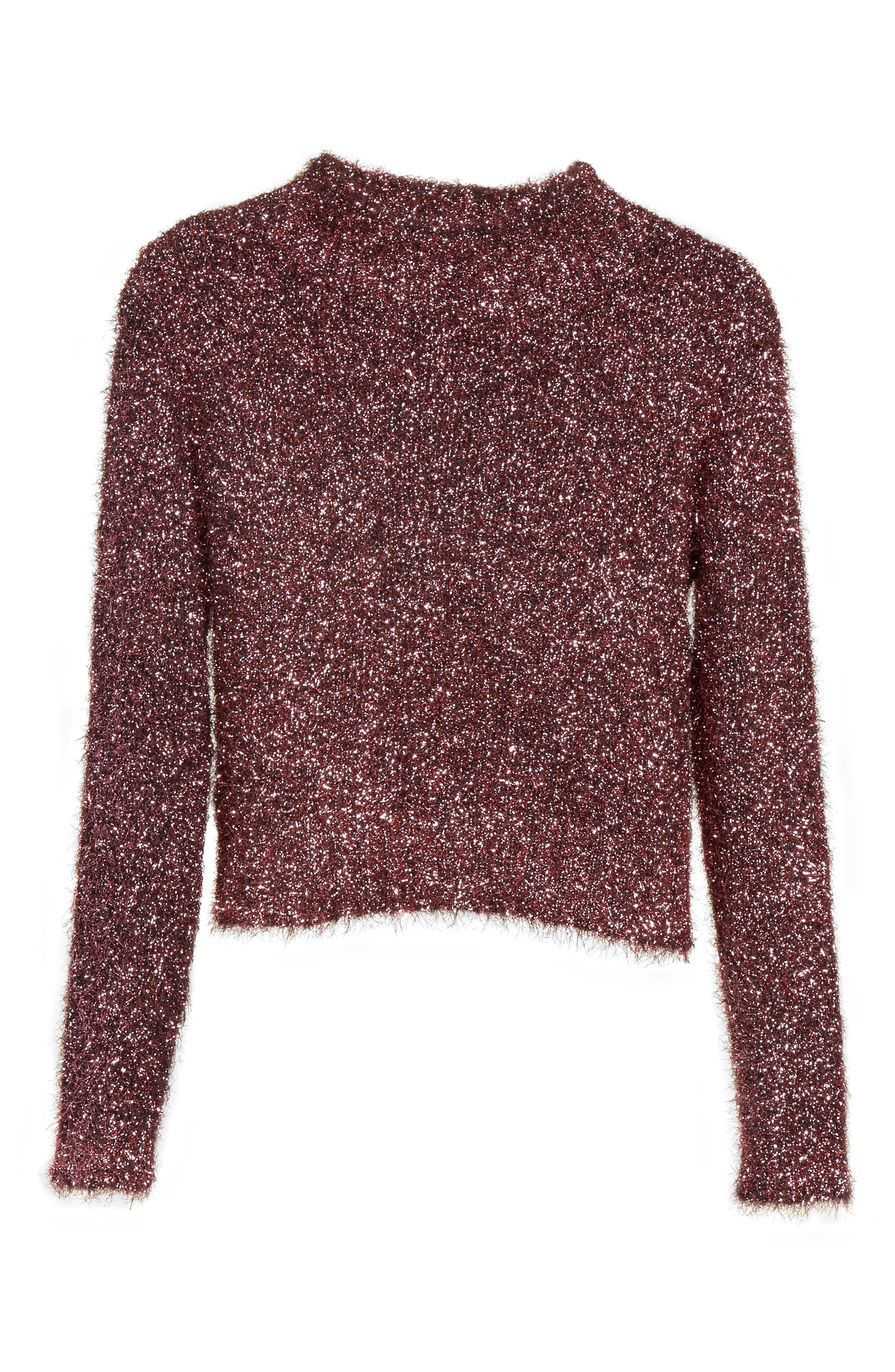Vaporize Textured Metallic Sweater,                             Alternate thumbnail 6, color,                             Pink
