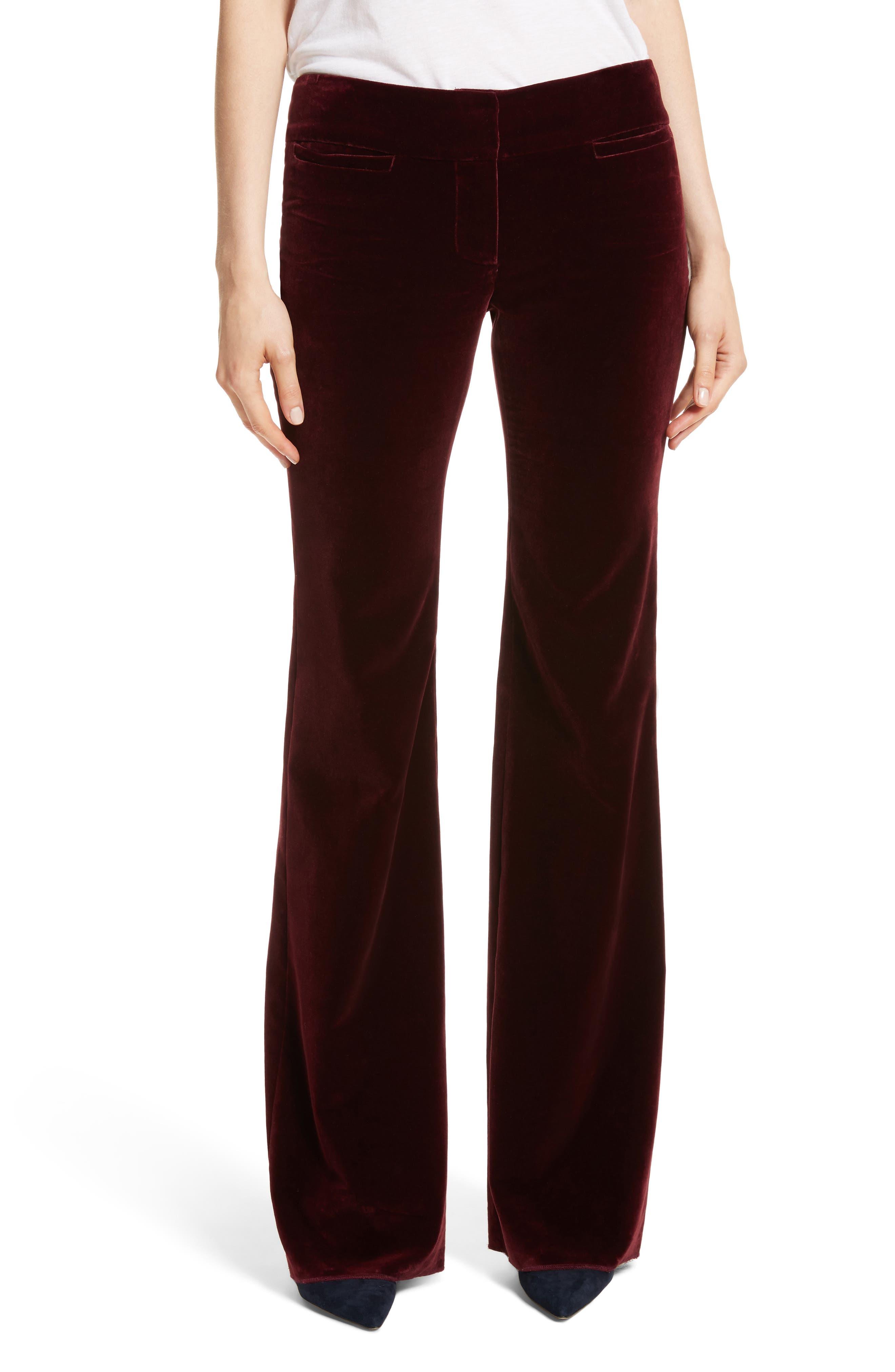 Amoire Velvet Flare Pants,                             Main thumbnail 1, color,                             Burgundy
