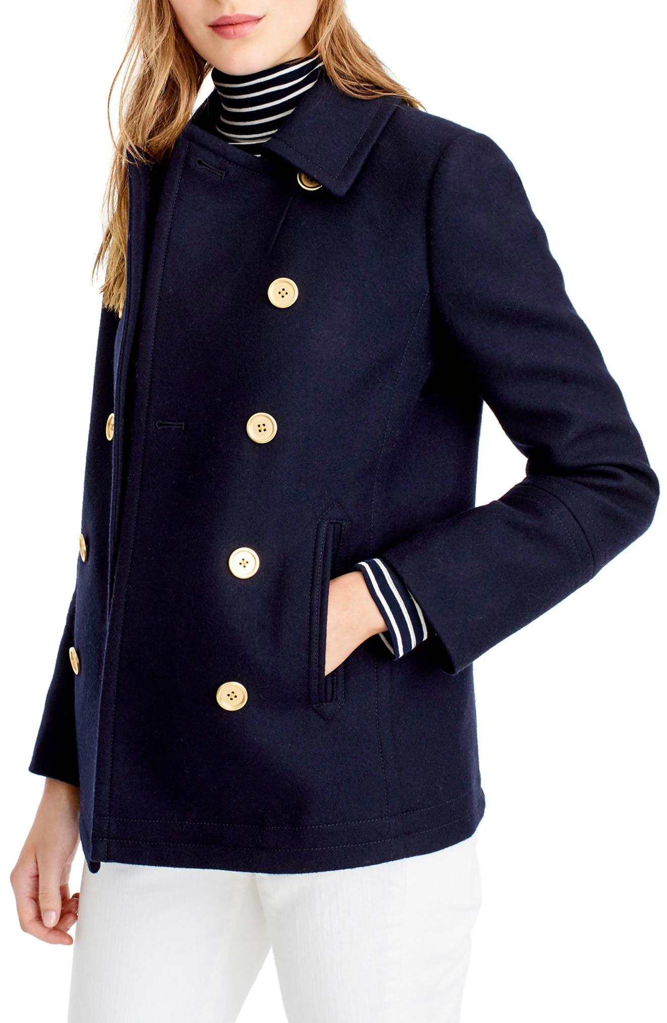 Main Image - J.Crew Heritage Wool Blend Peacoat (Regular & Petite)
