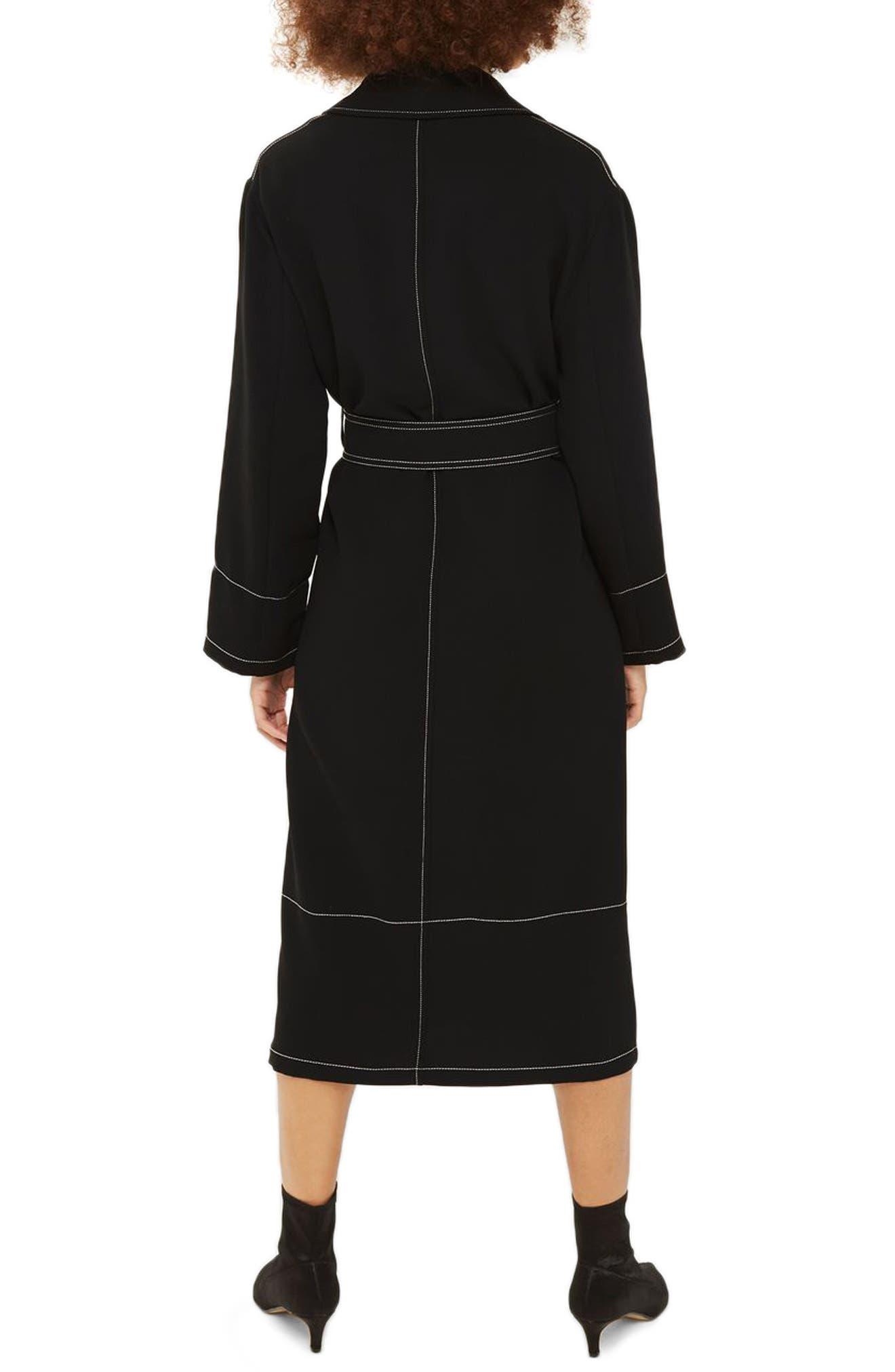 Contrast Stitch Duster Coat,                             Alternate thumbnail 3, color,                             Black