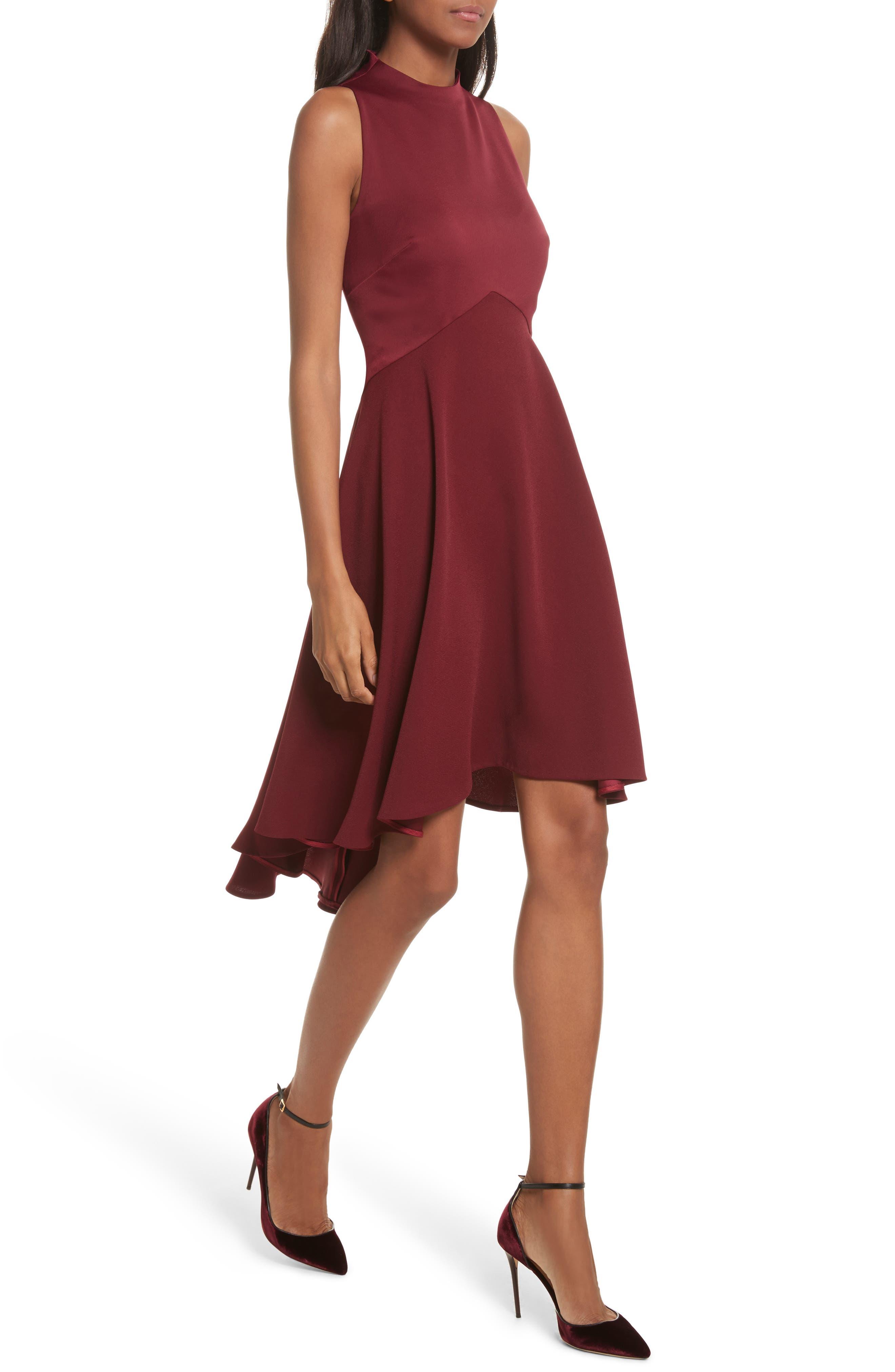 Mock Neck Fit & Flare Dress,                             Alternate thumbnail 4, color,                             Maroon