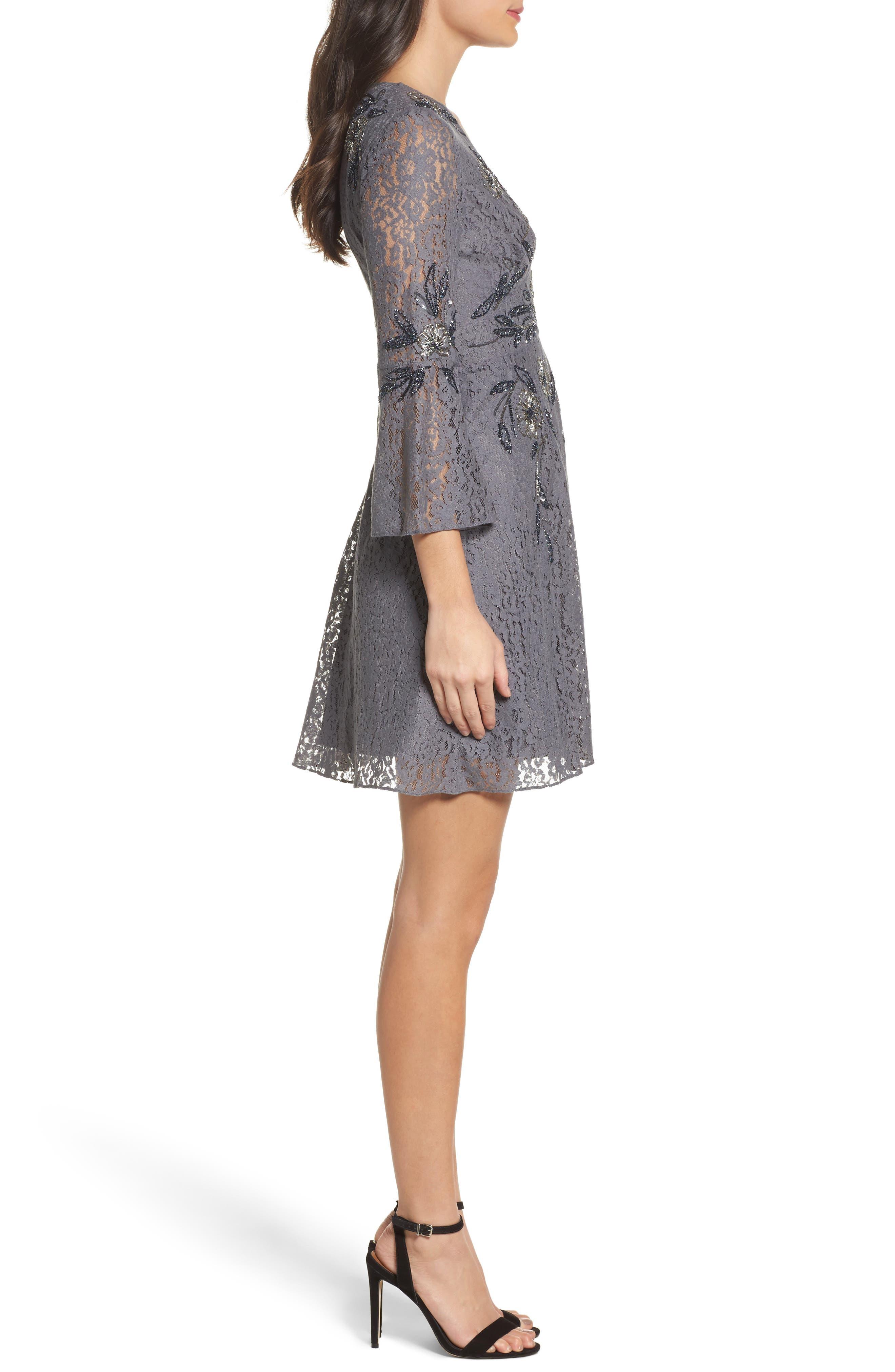 Esme Shimmer Beaded Lace Dress,                             Alternate thumbnail 3, color,                             Smokey