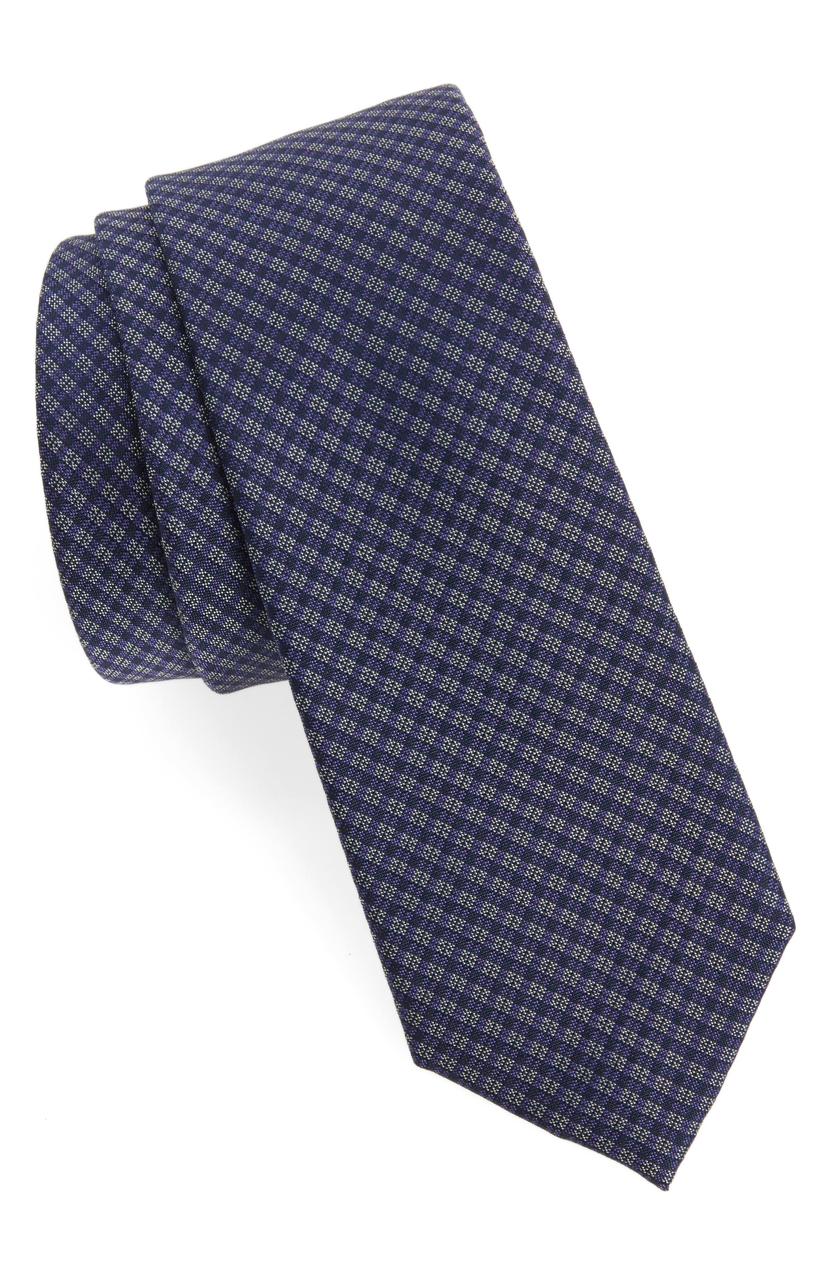 Microcheck Silk Tie,                         Main,                         color, Purple