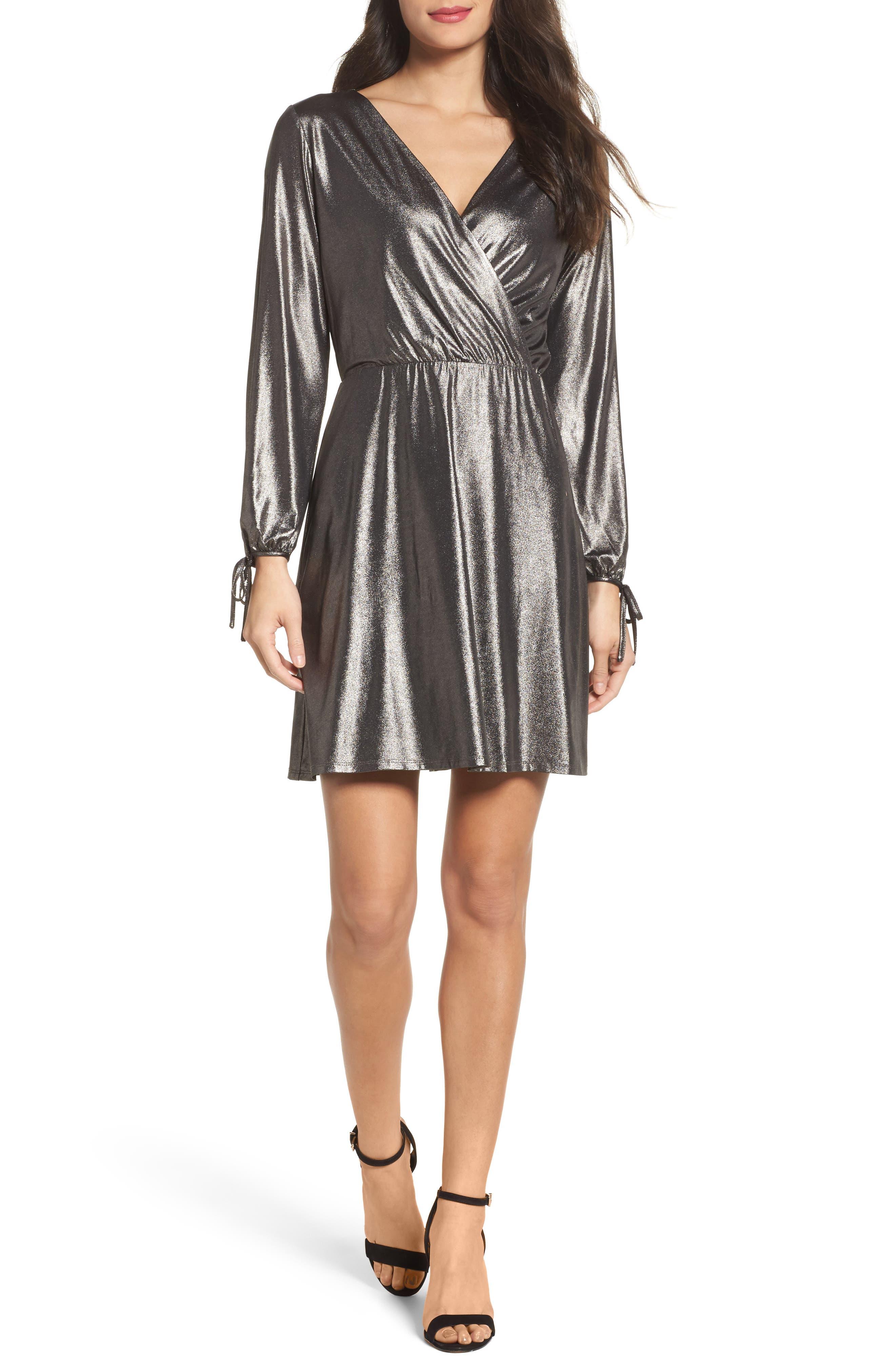 Metallic Faux Wrap Dress,                             Main thumbnail 1, color,                             Metallic Grey