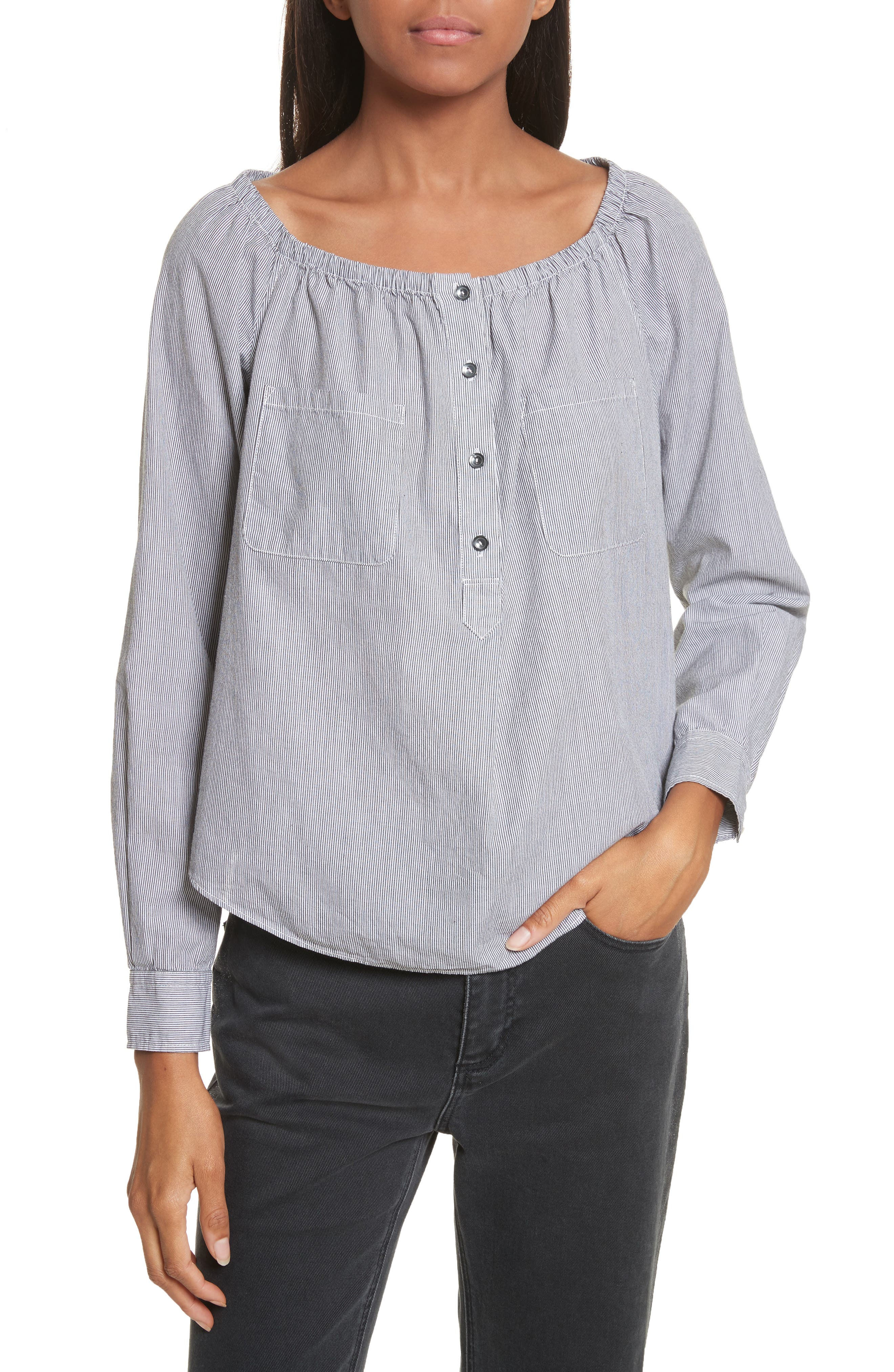 Stripe Popover Top,                             Main thumbnail 1, color,                             Washed Black Combo