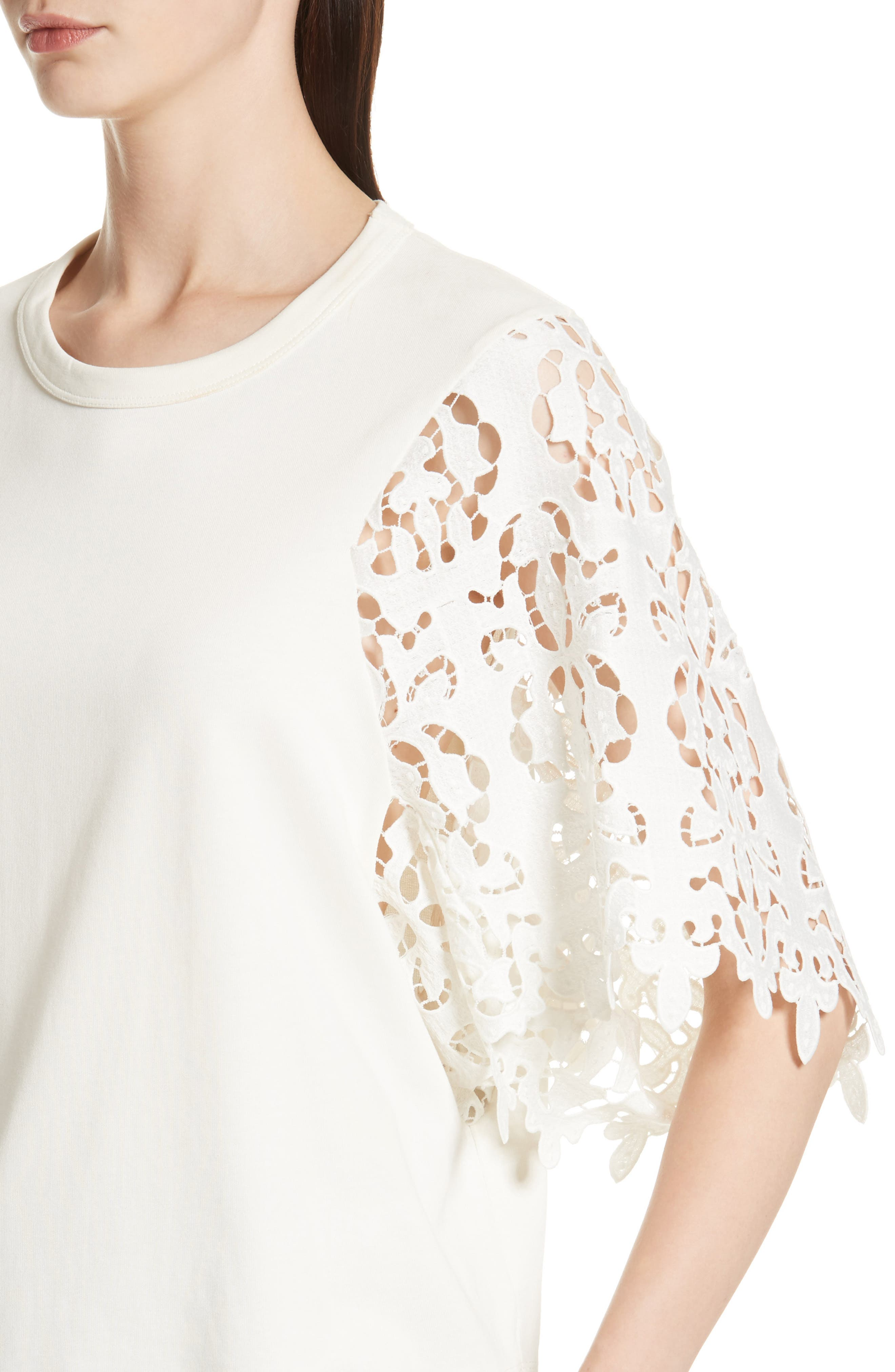 Lace Sleeve Top,                             Alternate thumbnail 4, color,                             Ivory