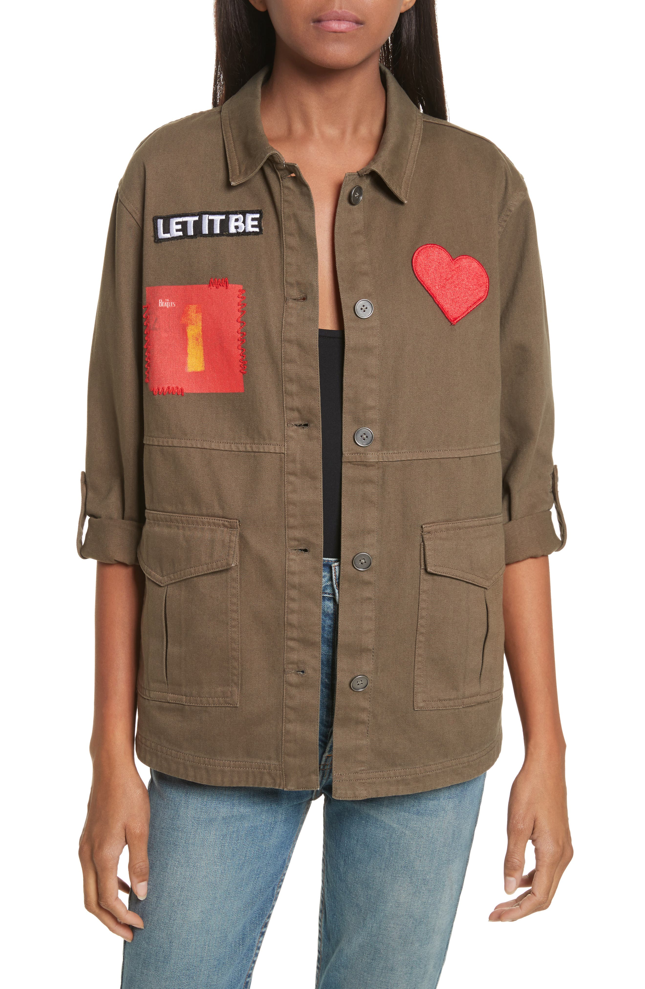 Main Image - Alice + Olivia AO x The Beatles Charline Oversize Patch Military Jacket