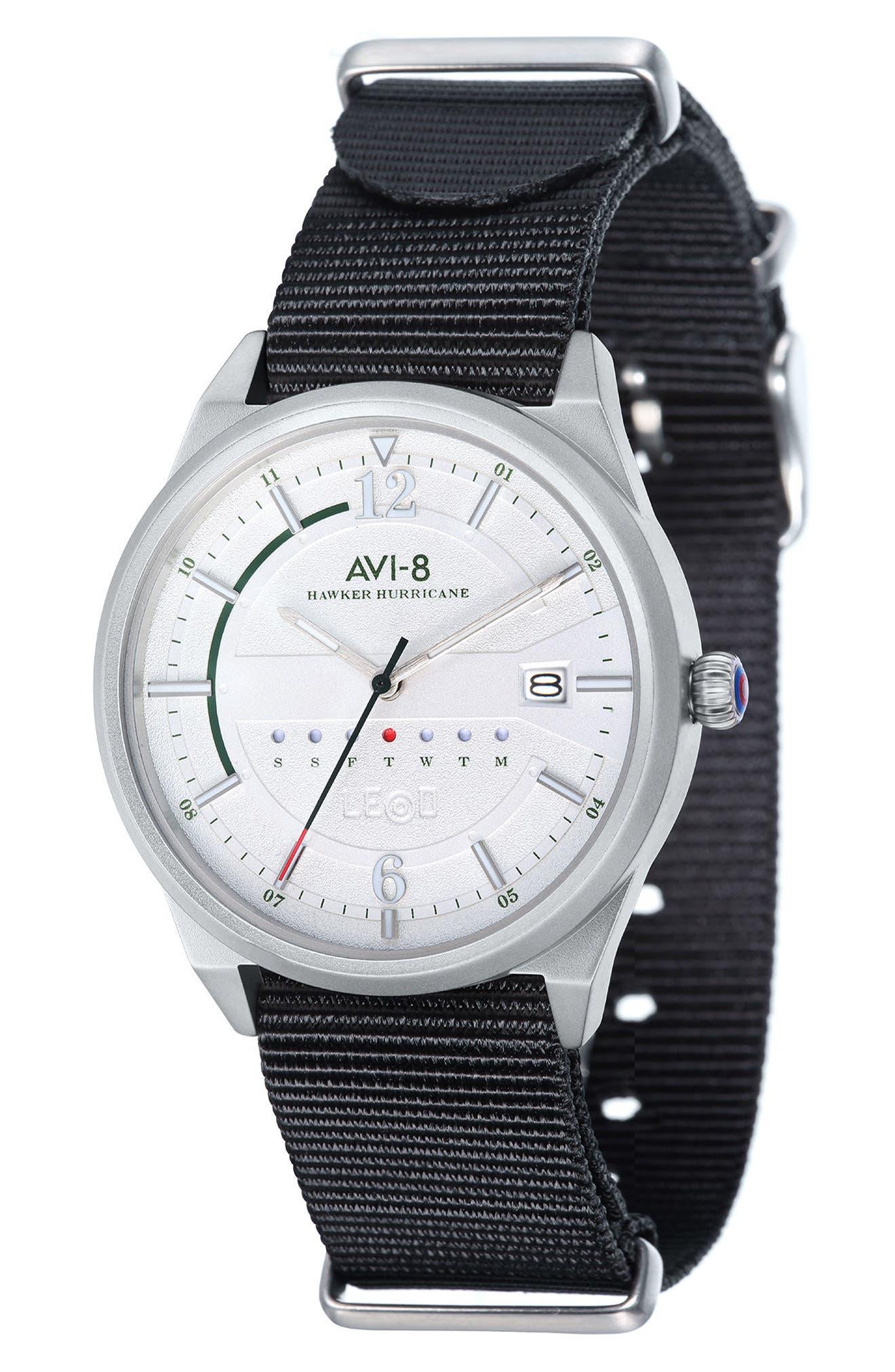 Hawker Hurricane NATO Strap Watch, 38mm,                         Main,                         color, White/ Black