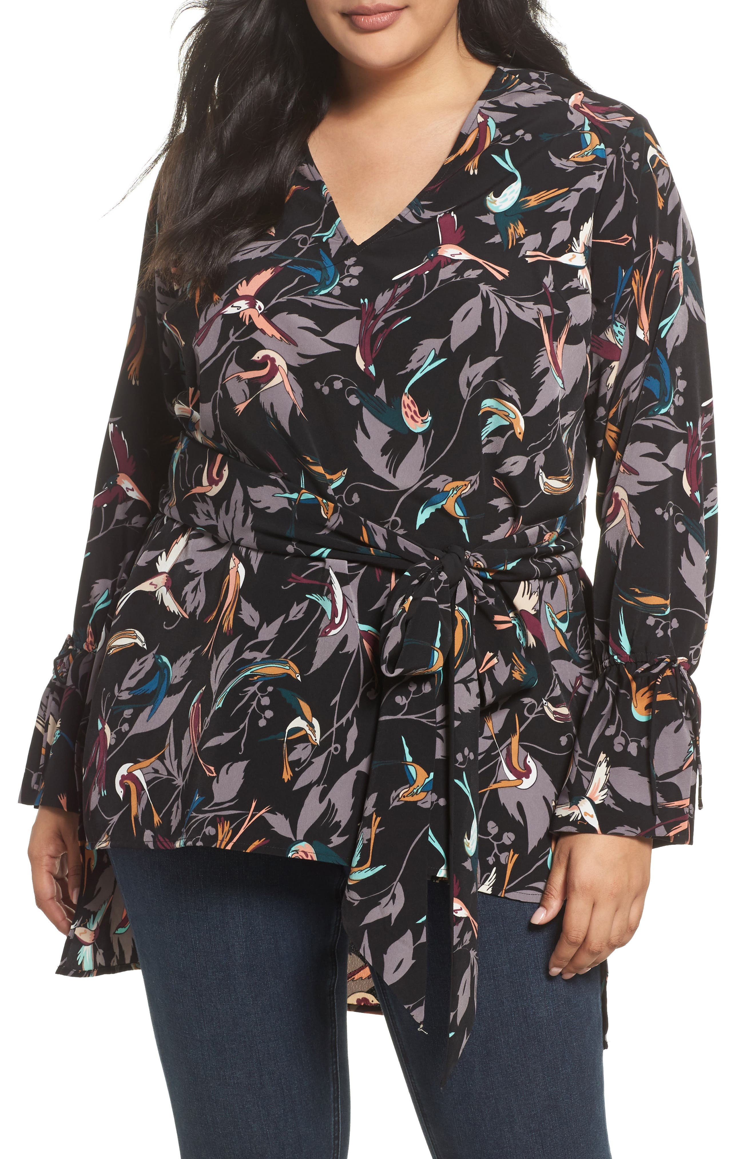 Melissa McCarthy Seven7 Bird Print Belted Tunic (Plus Size)