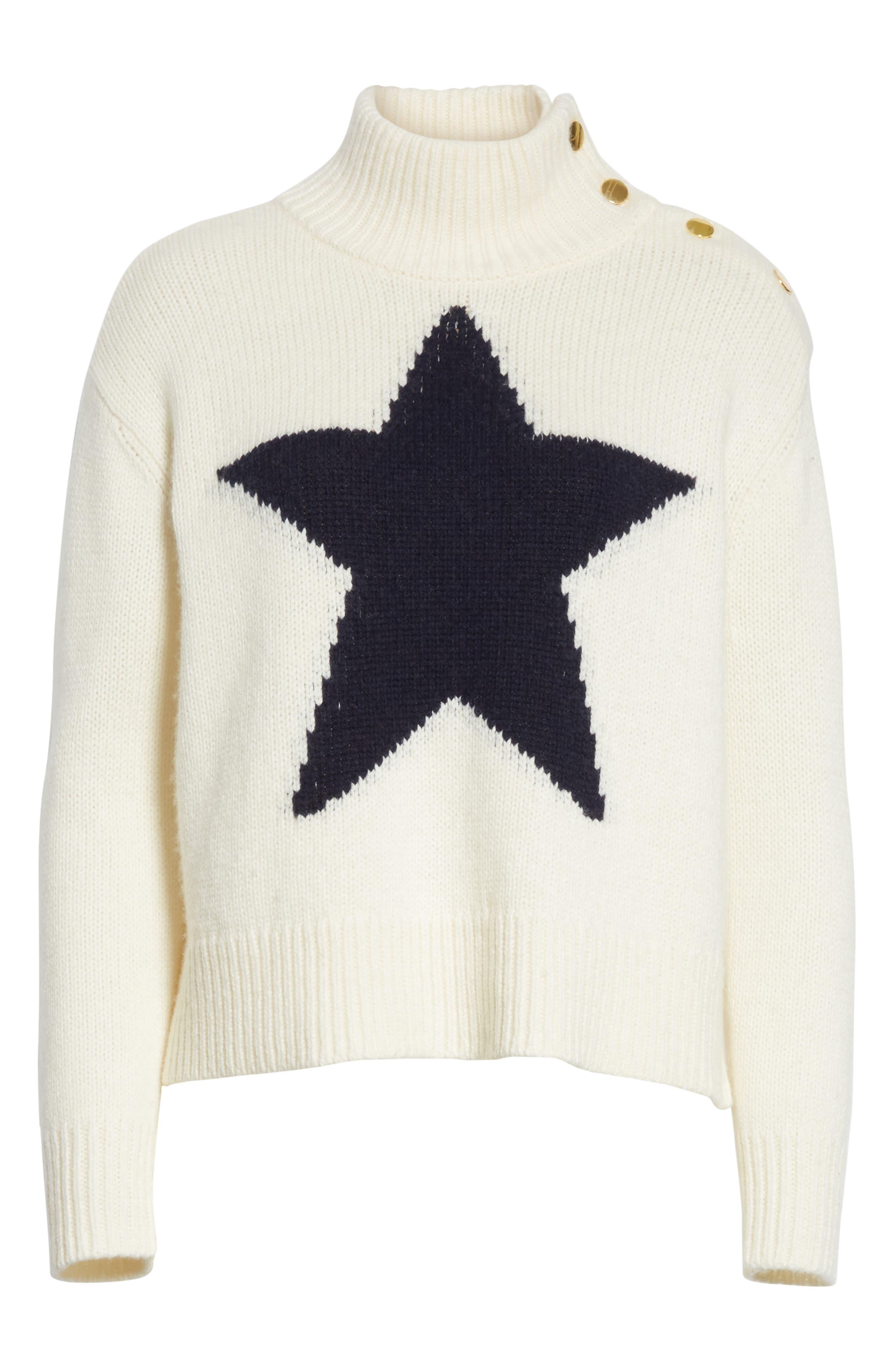 star turtleneck sweater,                             Alternate thumbnail 8, color,                             Cream/ Navy