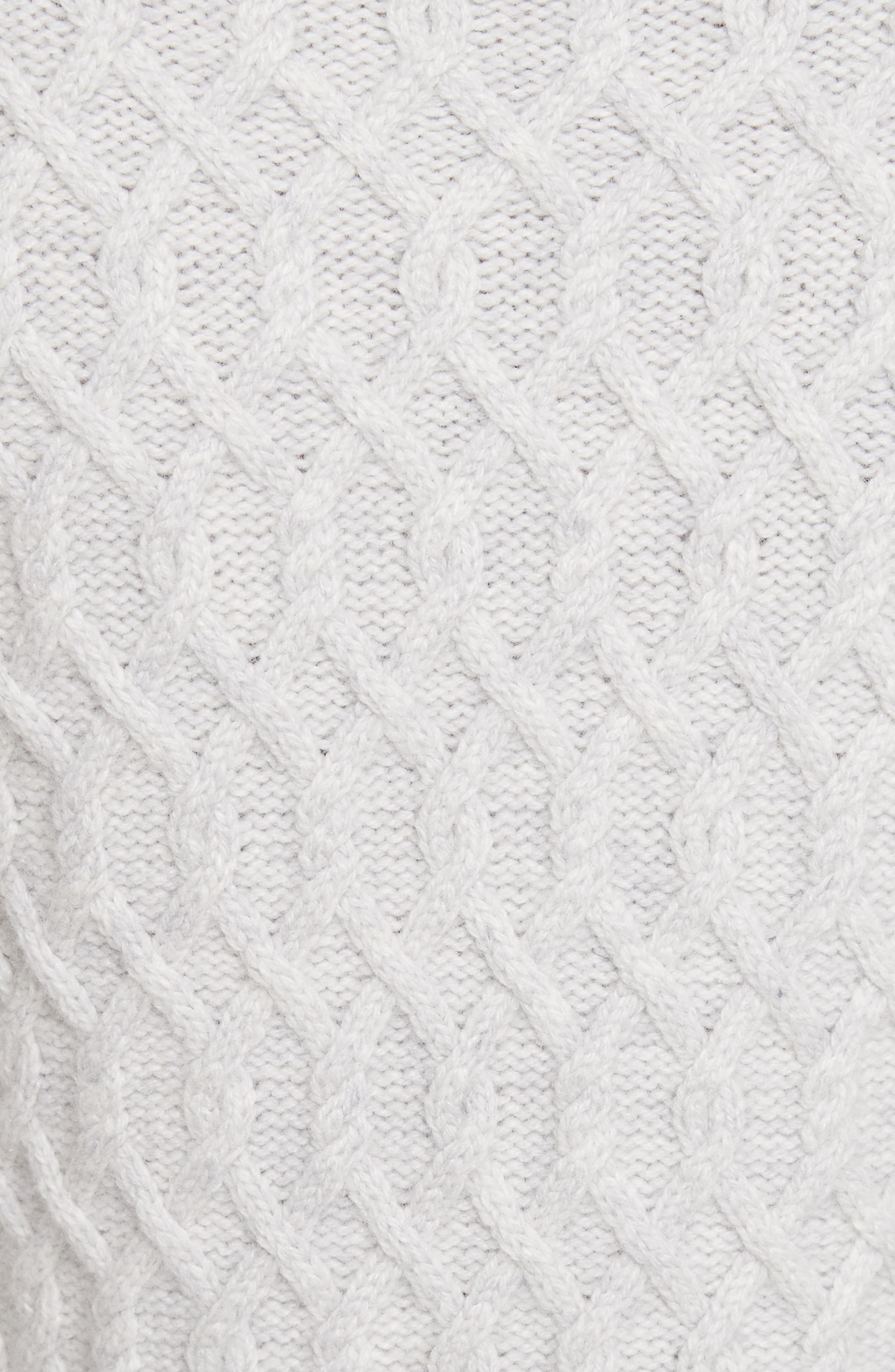 Braided Cable Mock Neck Pullover,                             Alternate thumbnail 5, color,                             Light Heather Grey