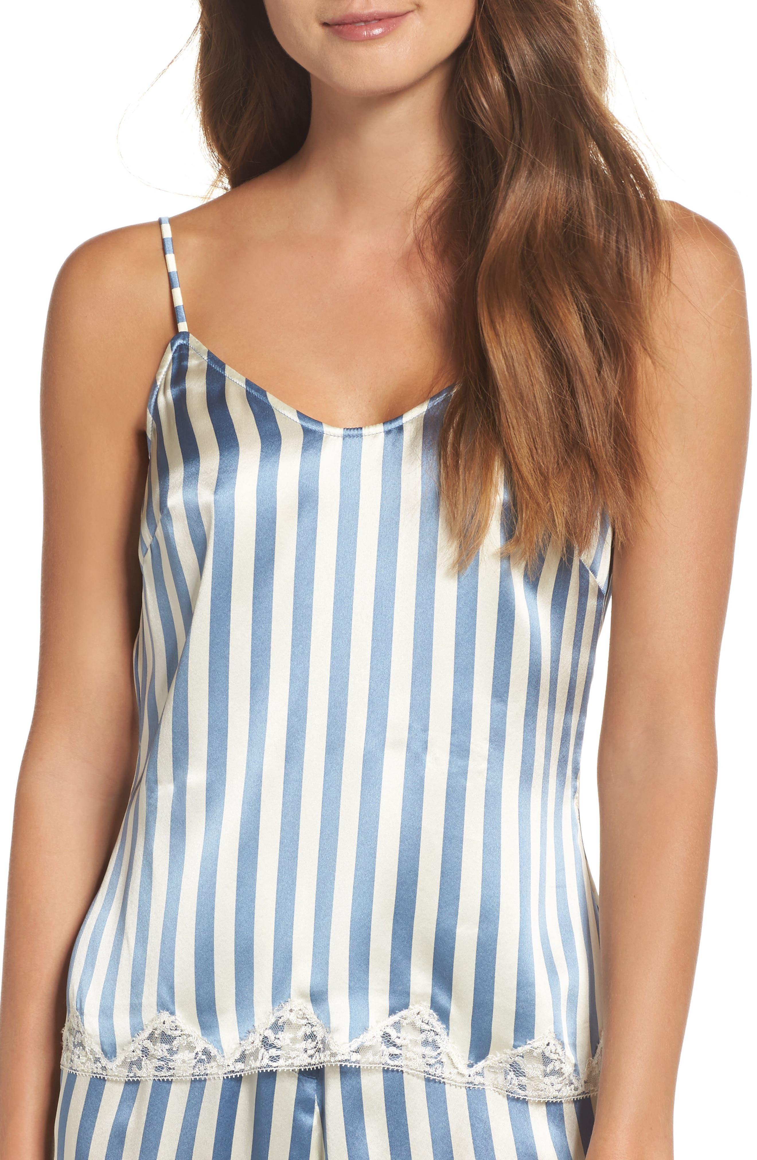 Jac Stripe Silk Camisole,                         Main,                         color, Periwinkle