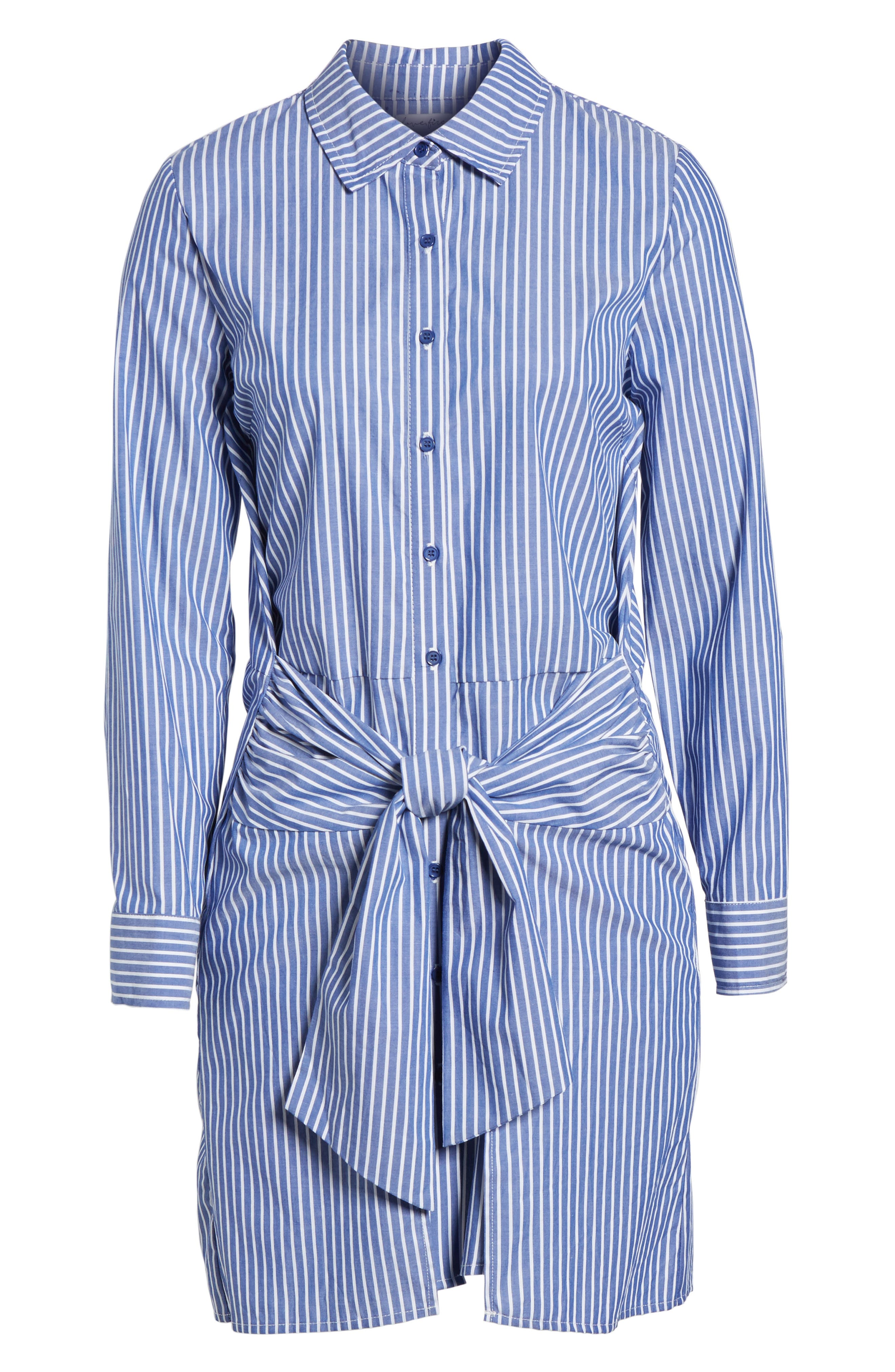 Tie Front Stripe Shirtdress,                             Alternate thumbnail 6, color,                             Blue White Stripe