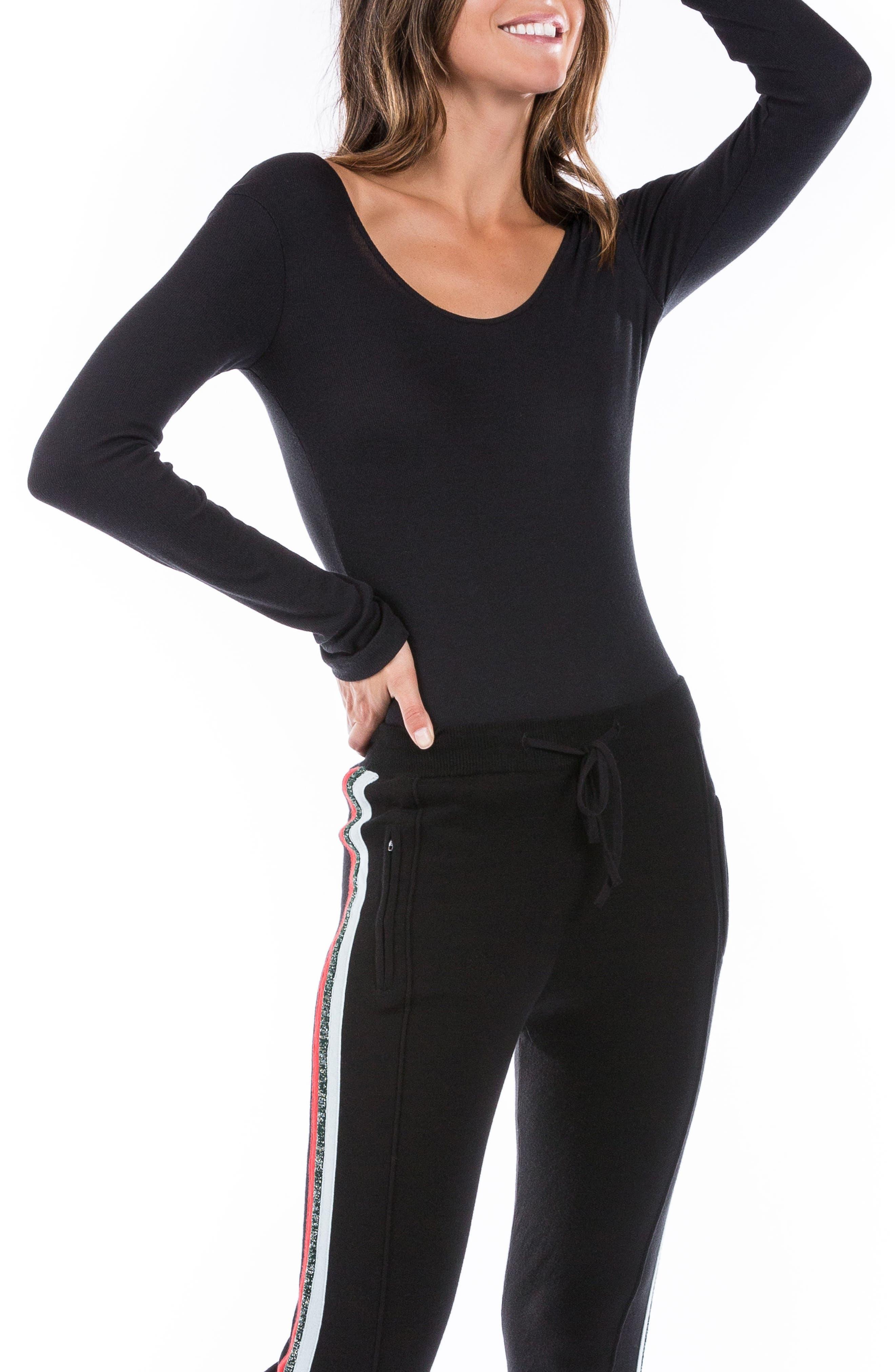 Long Sleeve Bodysuit,                             Alternate thumbnail 4, color,                             Black