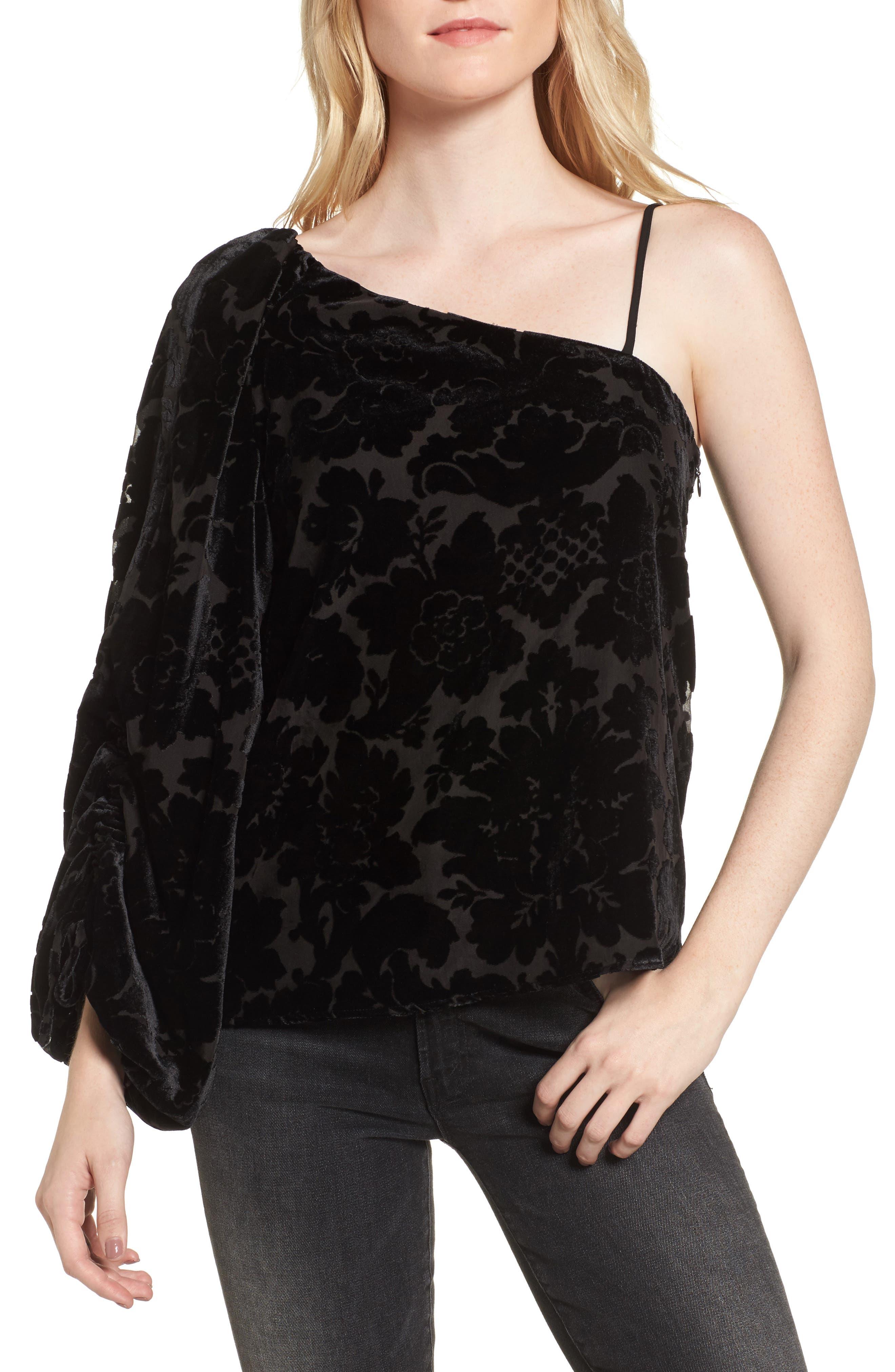 Cleo One-Shoulder Top,                         Main,                         color, Black