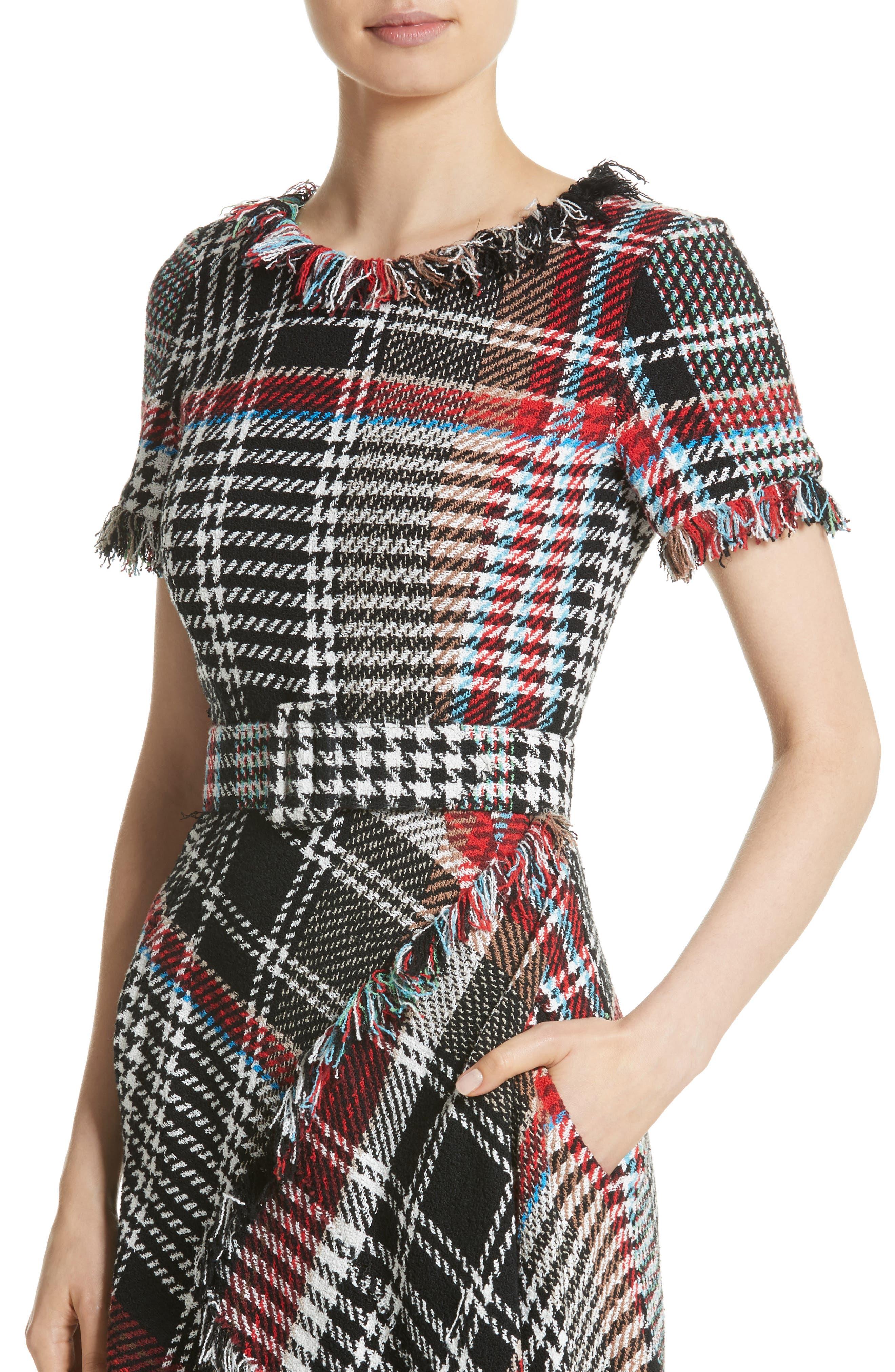 Alternate Image 4  - Oscar de la Renta Plaid Asymmetrical Dress