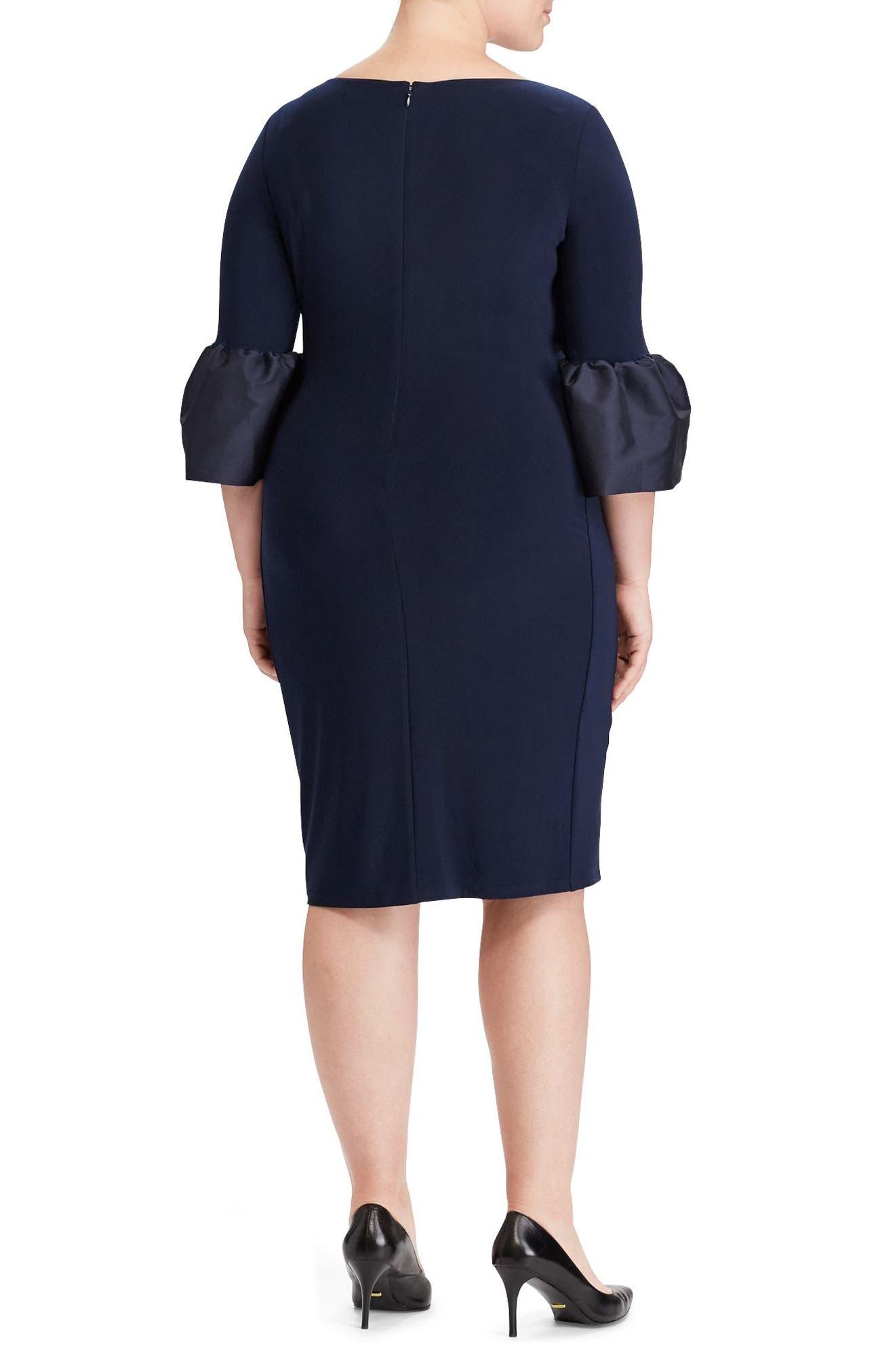 Taffeta Cuff Jersey Shift Dress,                             Alternate thumbnail 2, color,                             Light Navy/ Light Navy