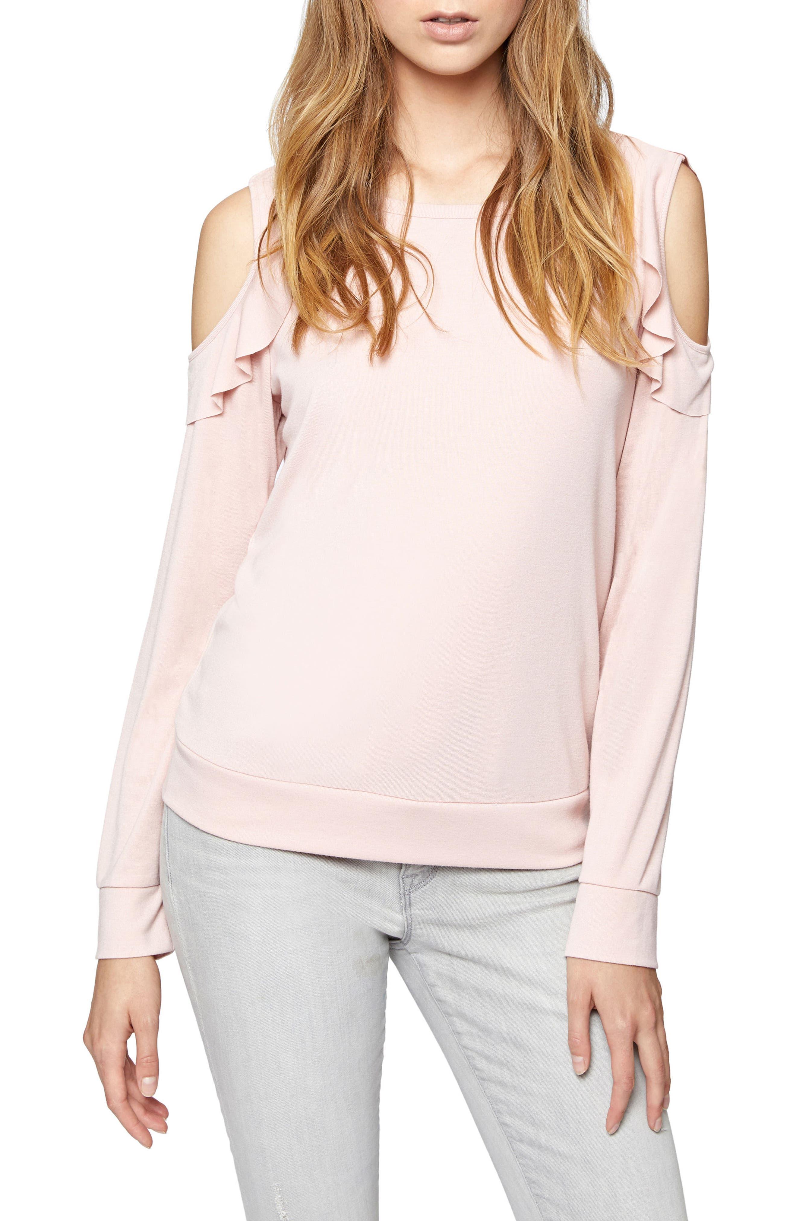 Ashley Bare Ruffle Tee,                         Main,                         color, Celestial Pink