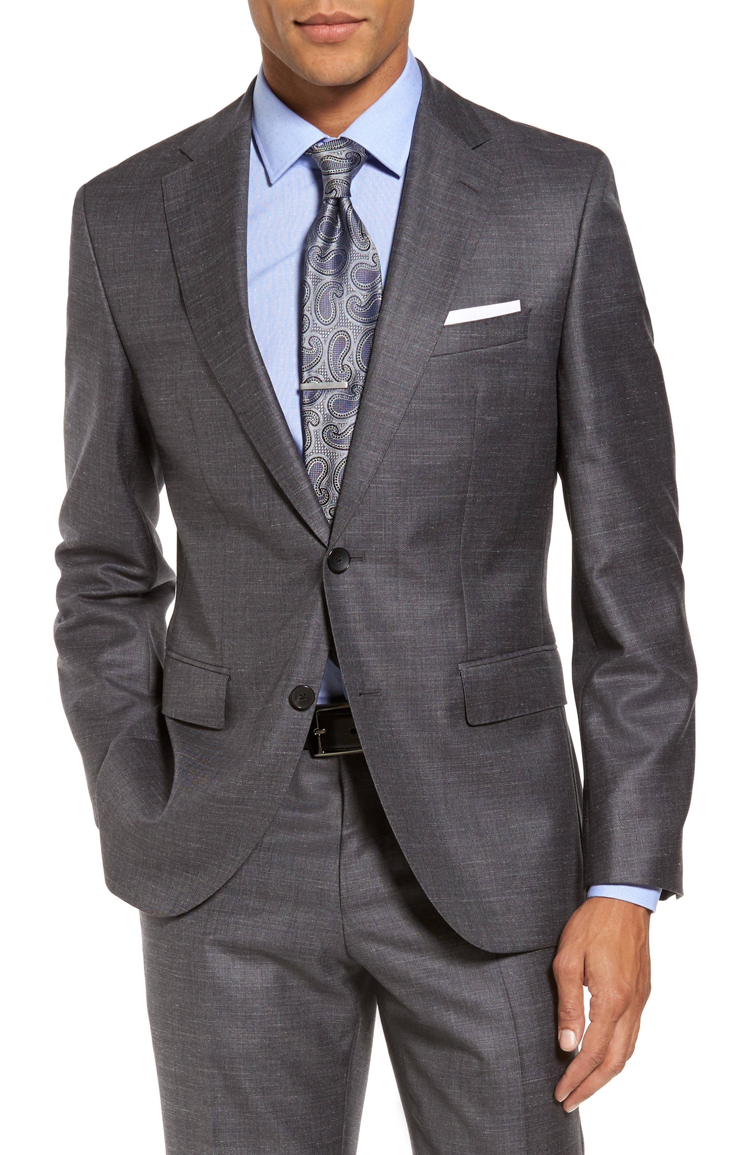 Johnstons/Lenon Classic Fit Solid Wool Blend Suit,                             Alternate thumbnail 5, color,                             Open Grey