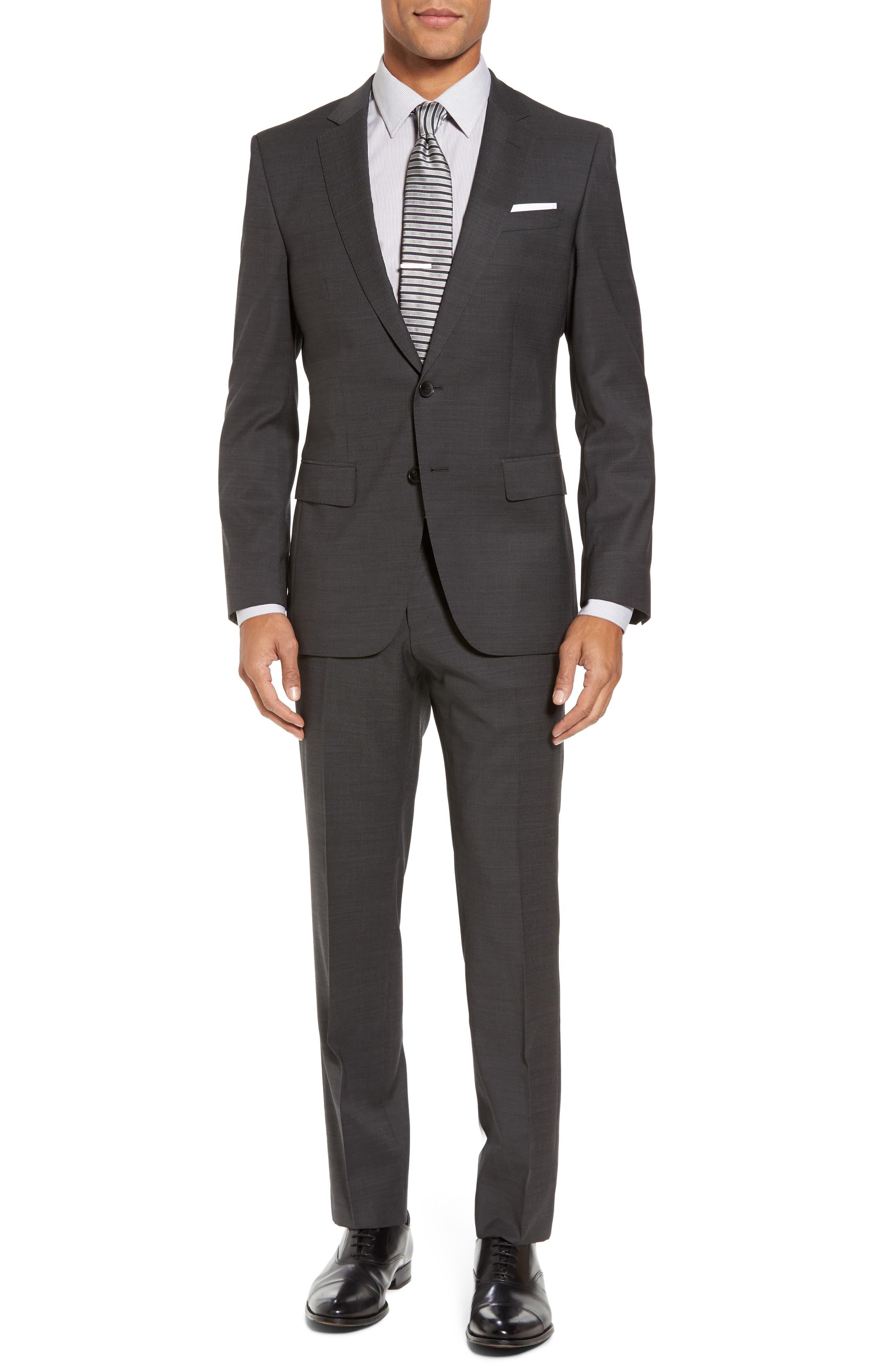 Huge/Genius Trim Fit Solid Wool Suit,                             Main thumbnail 1, color,                             Open Grey
