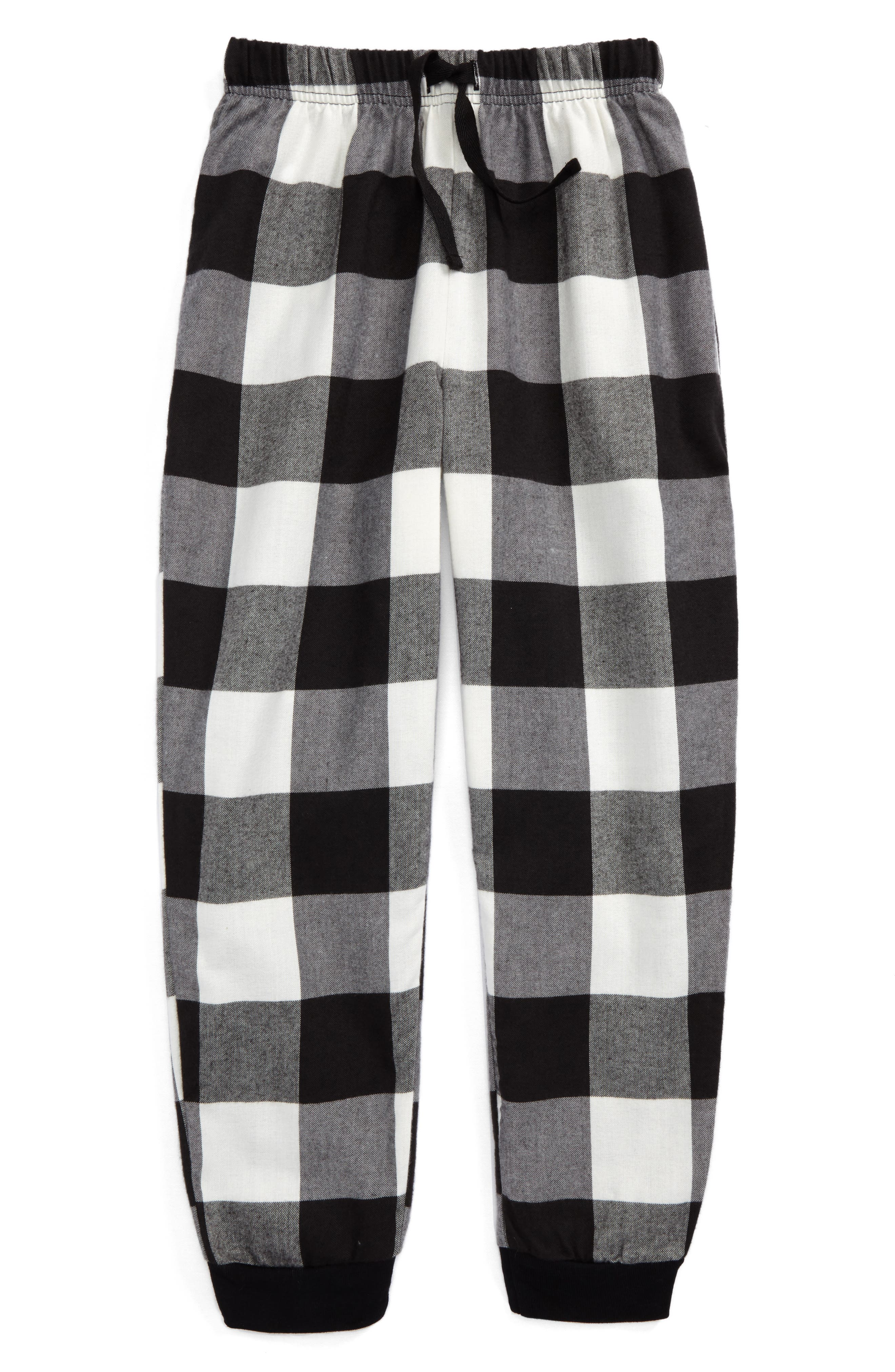 Flannel Jogger Pants,                             Main thumbnail 1, color,                             Black- Ivory