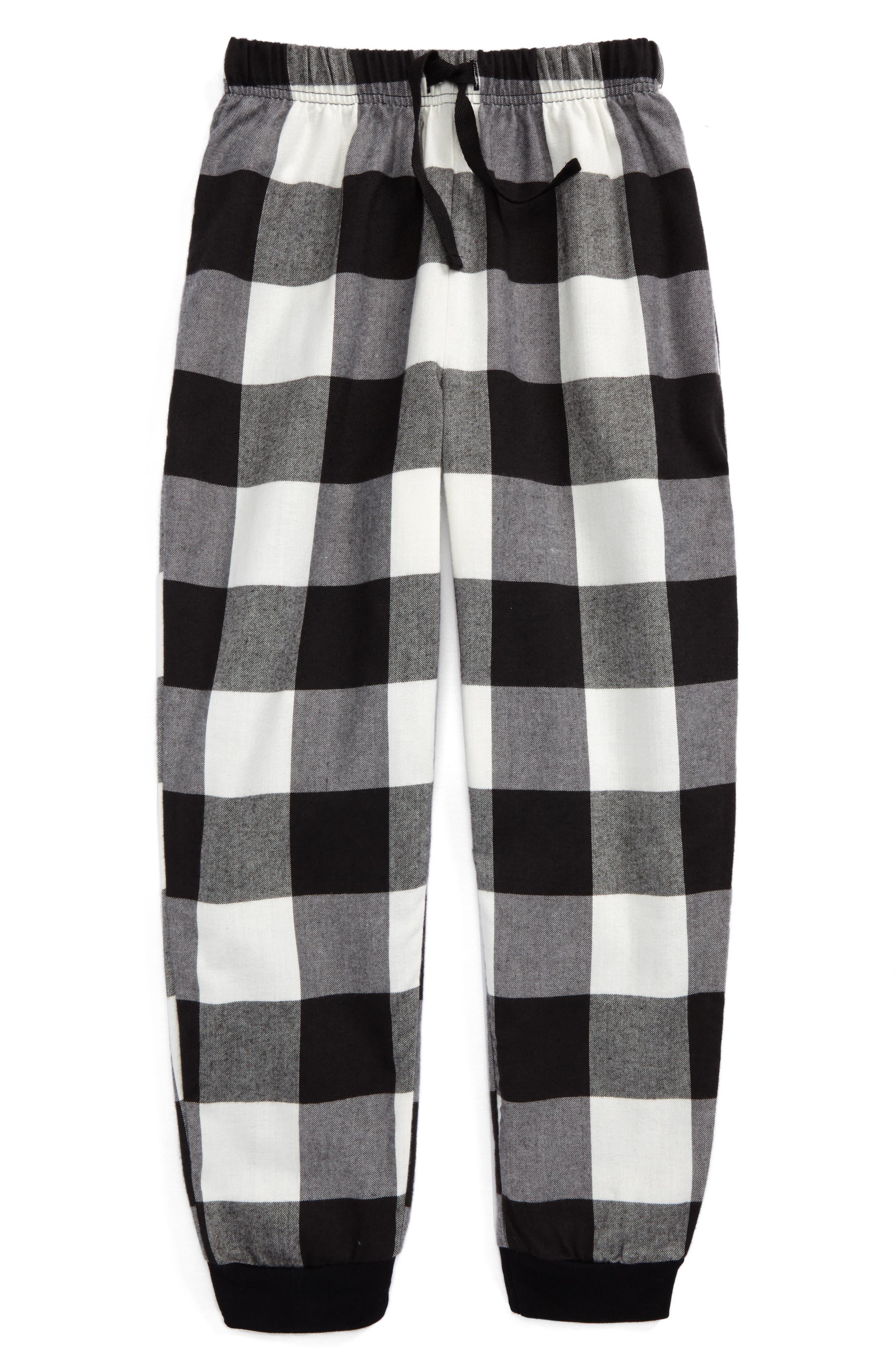 Flannel Jogger Pants,                         Main,                         color, Black- Ivory