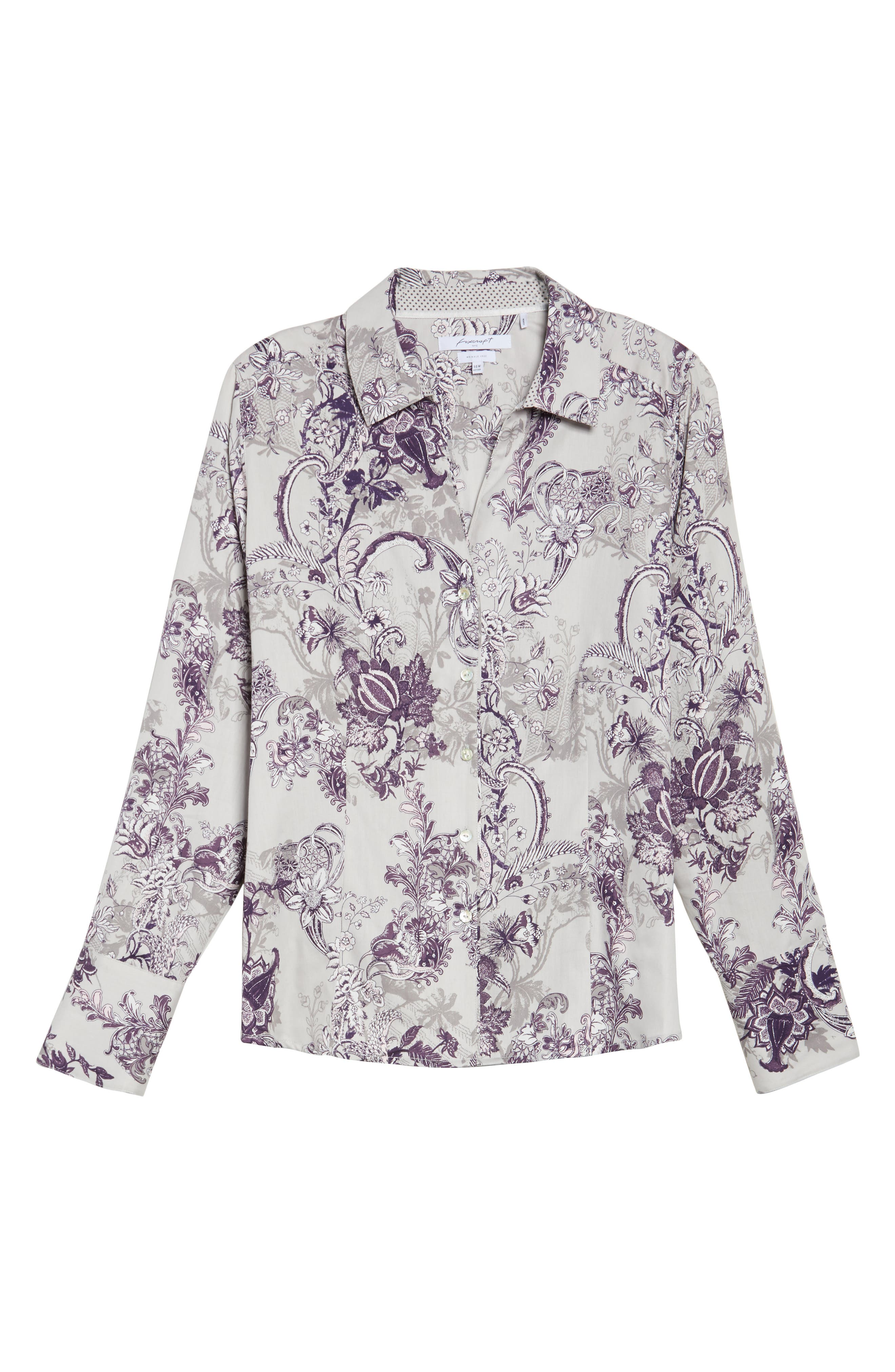 Alternate Image 6  - Foxcroft Floral Tapestry Shirt (Plus Size)